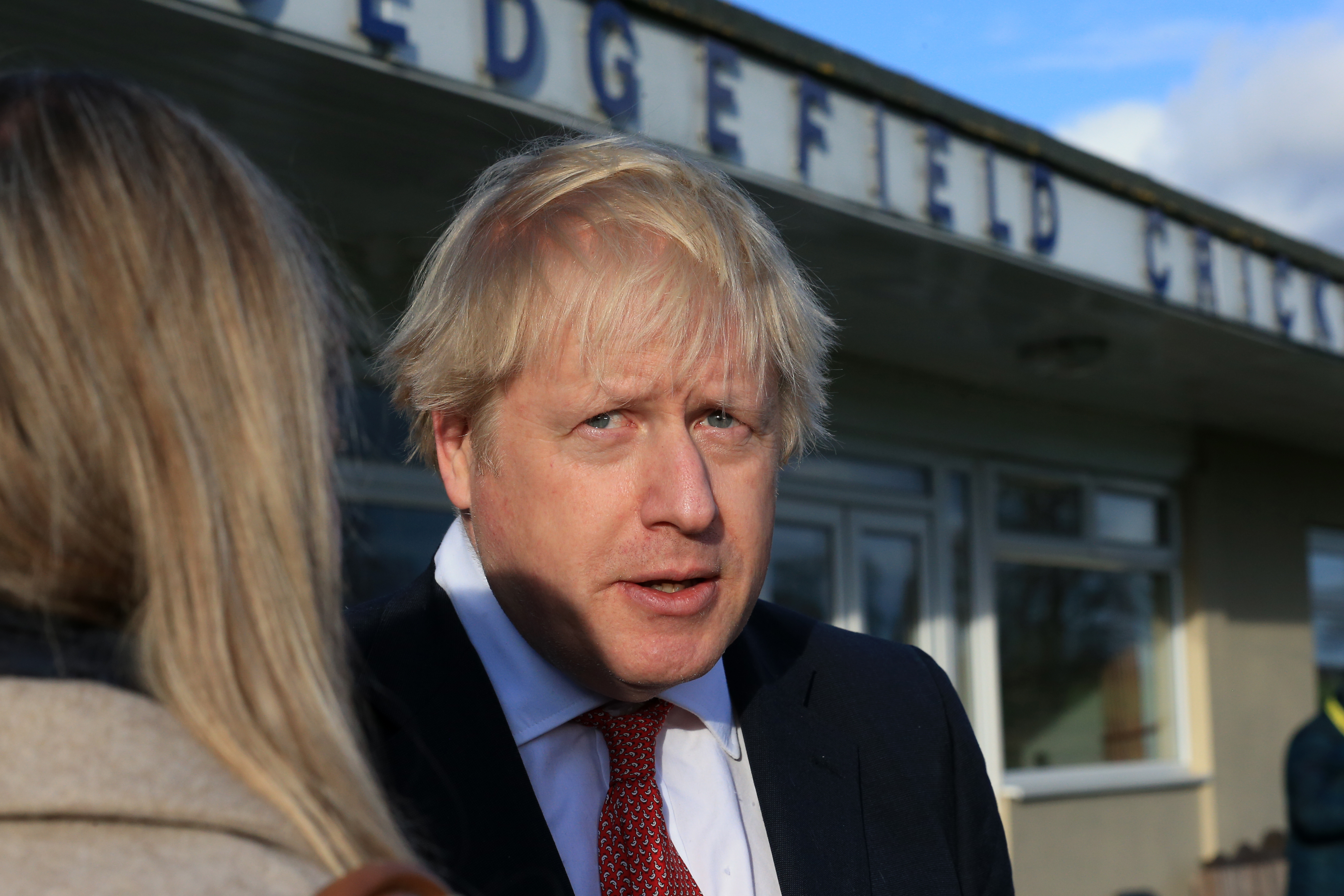 Prime Minister Boris Johnson during a visit to see newly elected Conservative party MP for Sedgefield, Paul Howell during a visit to Sedgefield Cricket Club in County Durham.