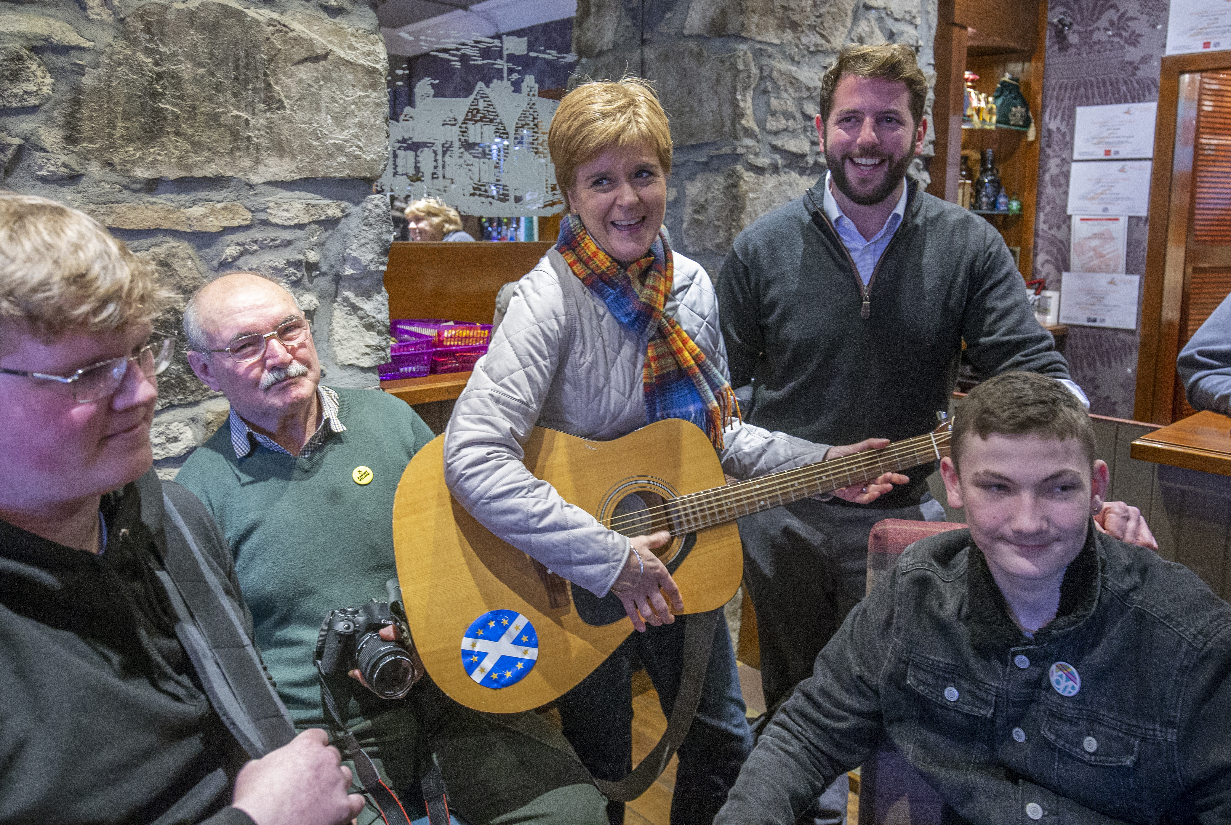SNP leader Nicola Sturgeon and SNP candidate for Aberdeenshire West and Kincardine Fergus Mutch (centre right) take part in a traditional music workshop at the Burnett Arms Hotel, Kemnay, Aberdeenshire, on the General Election campaign trail.