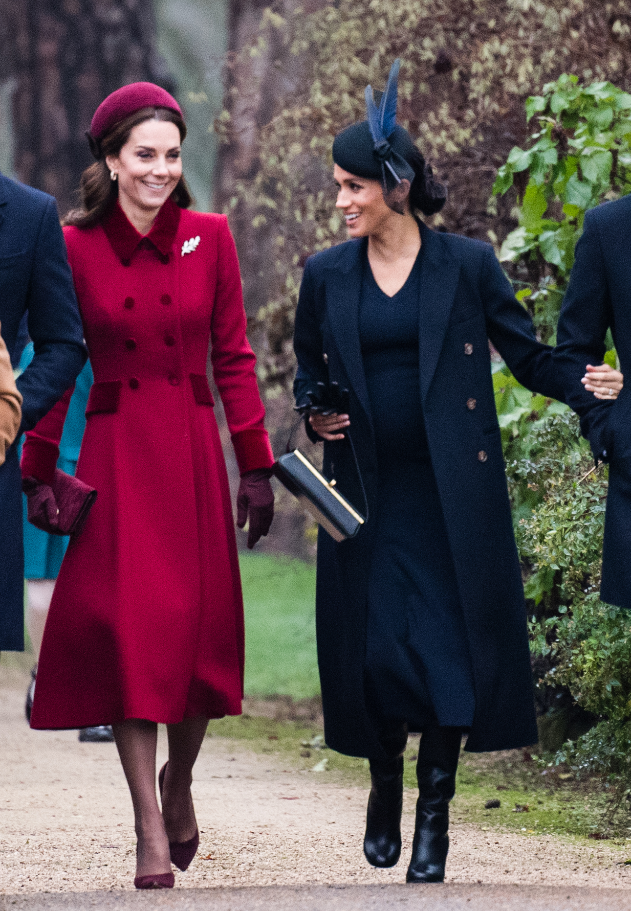 KING'S LYNN, ENGLAND - DECEMBER 25: Catherine, Duchess of Cambridge and Meghan, Duchess of Sussex attend Christmas Day Church service at Church of St Mary Magdalene on the Sandringham estate on December 25, 2018 in King's Lynn, England. (Photo by Samir Hussein/WireImage)