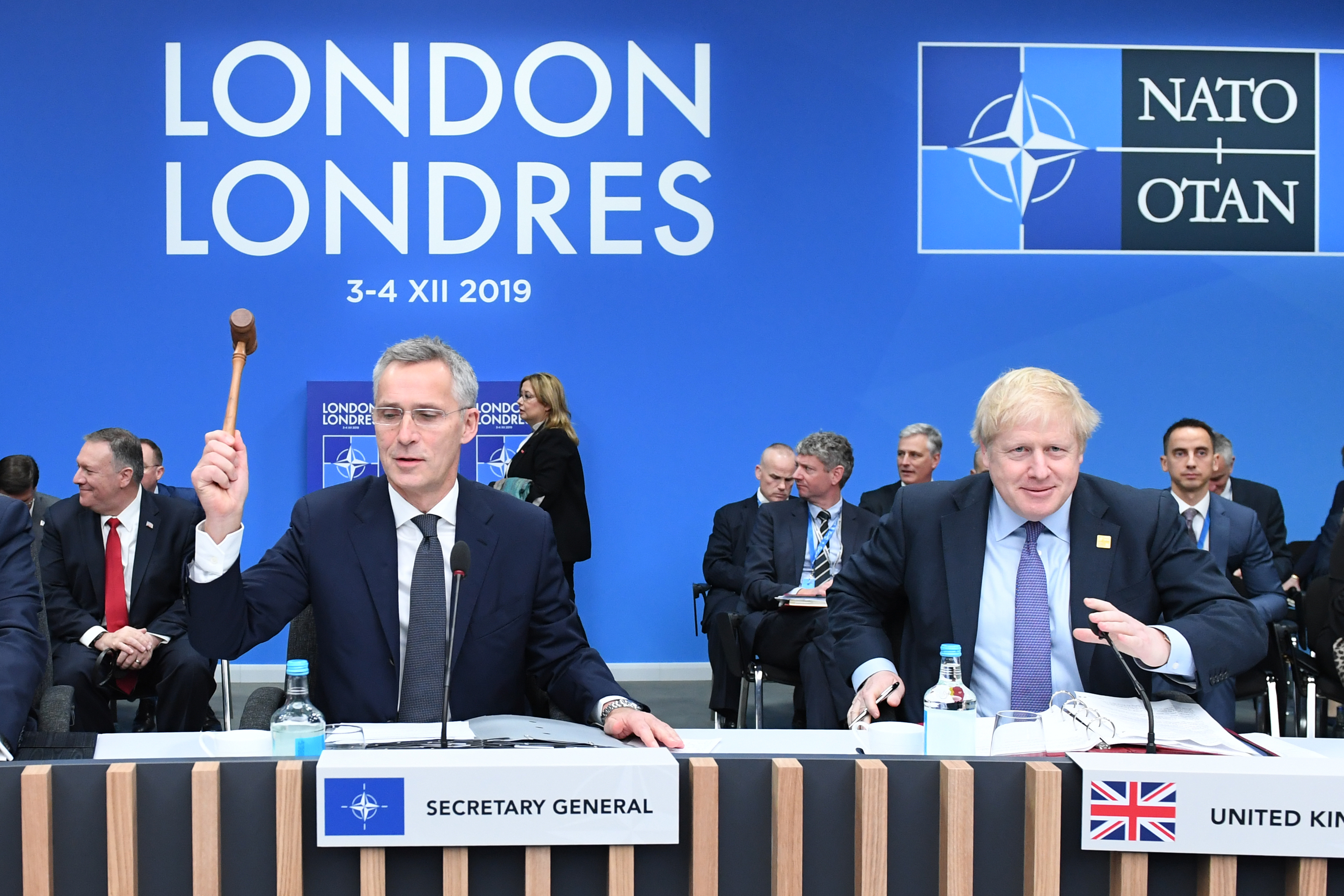 Jens Stoltenberg, the Secretary General of Nato (left) sits with Prime Minister Boris Johnson during the annual Nato heads of government summit at The Grove hotel in Watford, Hertfordshire.