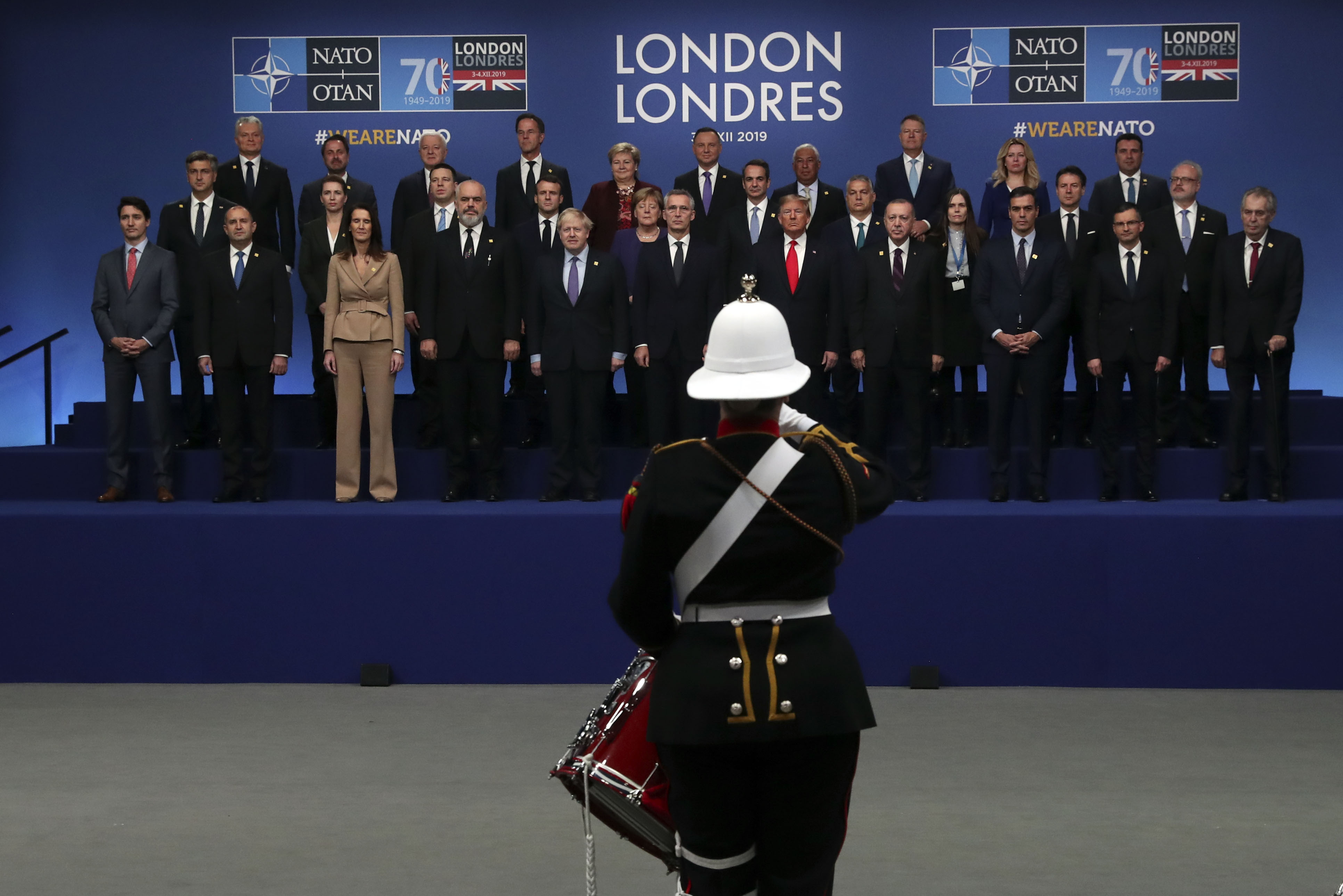Drummers from the band of the Royal Marines play for the leaders during the annual Nato heads of government summit at The Grove hotel in Watford, Hertfordshire.