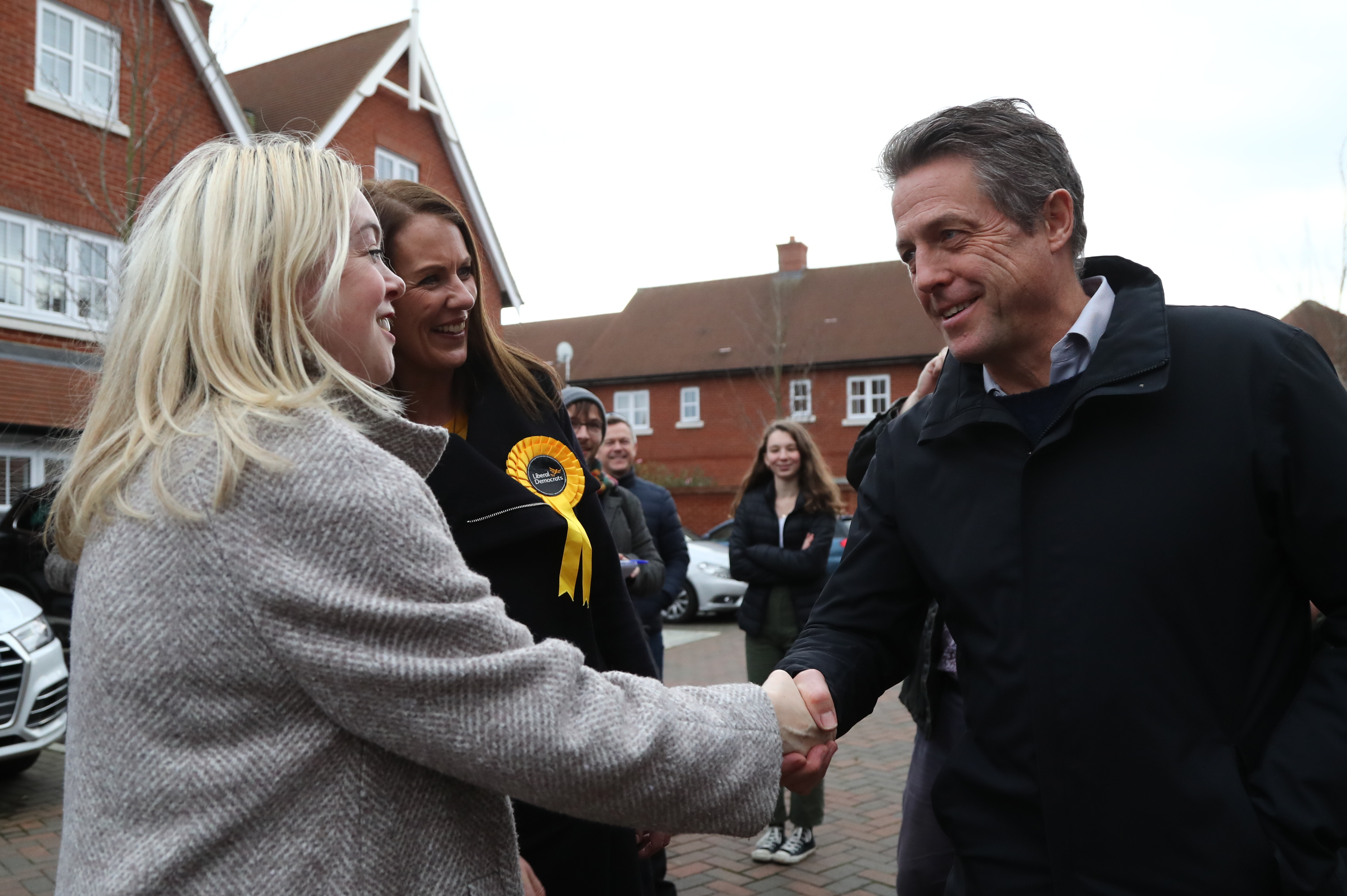 Actor Hugh Grant canvassing in Walton -on-Thames in the Esher & Walton constituency with Liberal Democrat candidate Monica Harding.