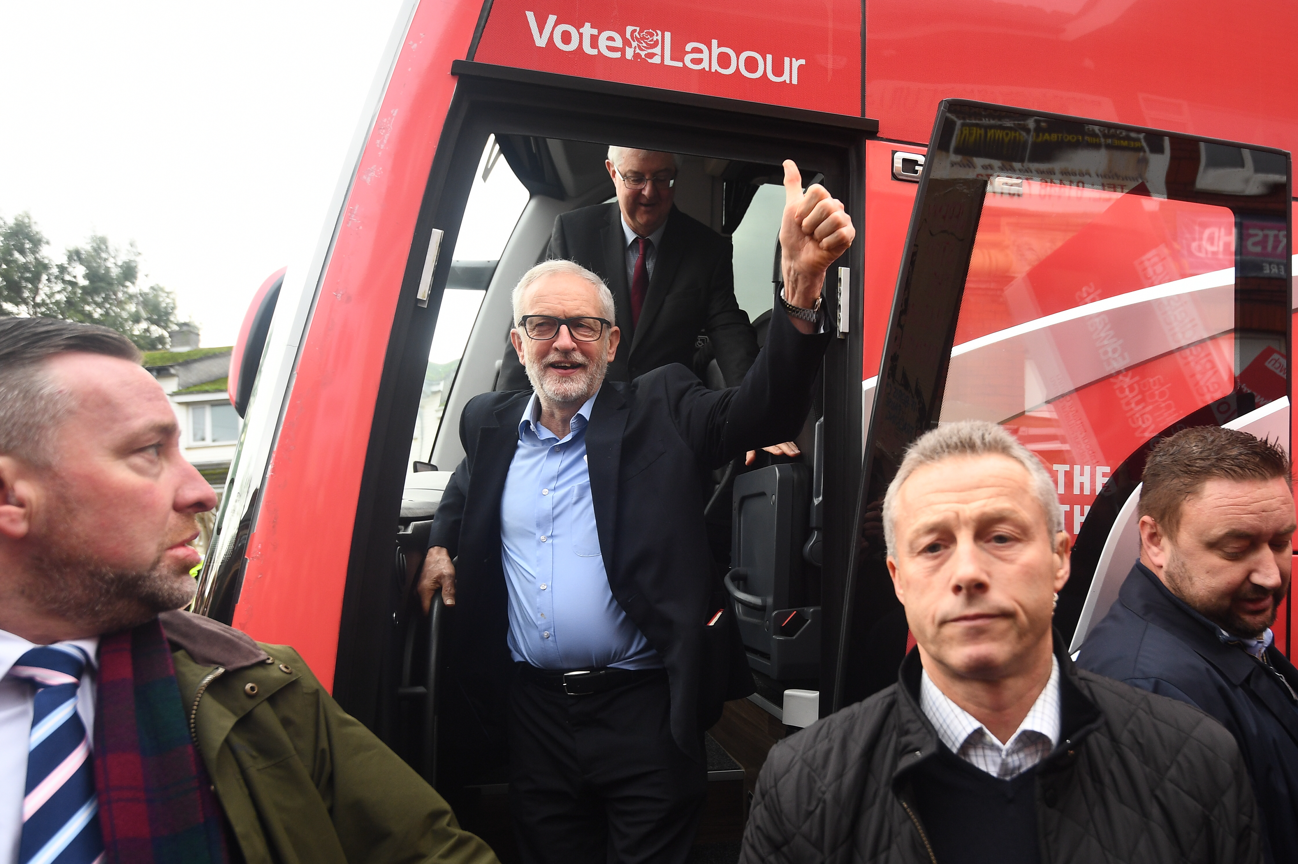 Labour Party leader Jeremy Corbyn and Welsh Labour leader Mark Drakeford (back) arriving in Swansea, while on the General Election campaign trail in Wales.
