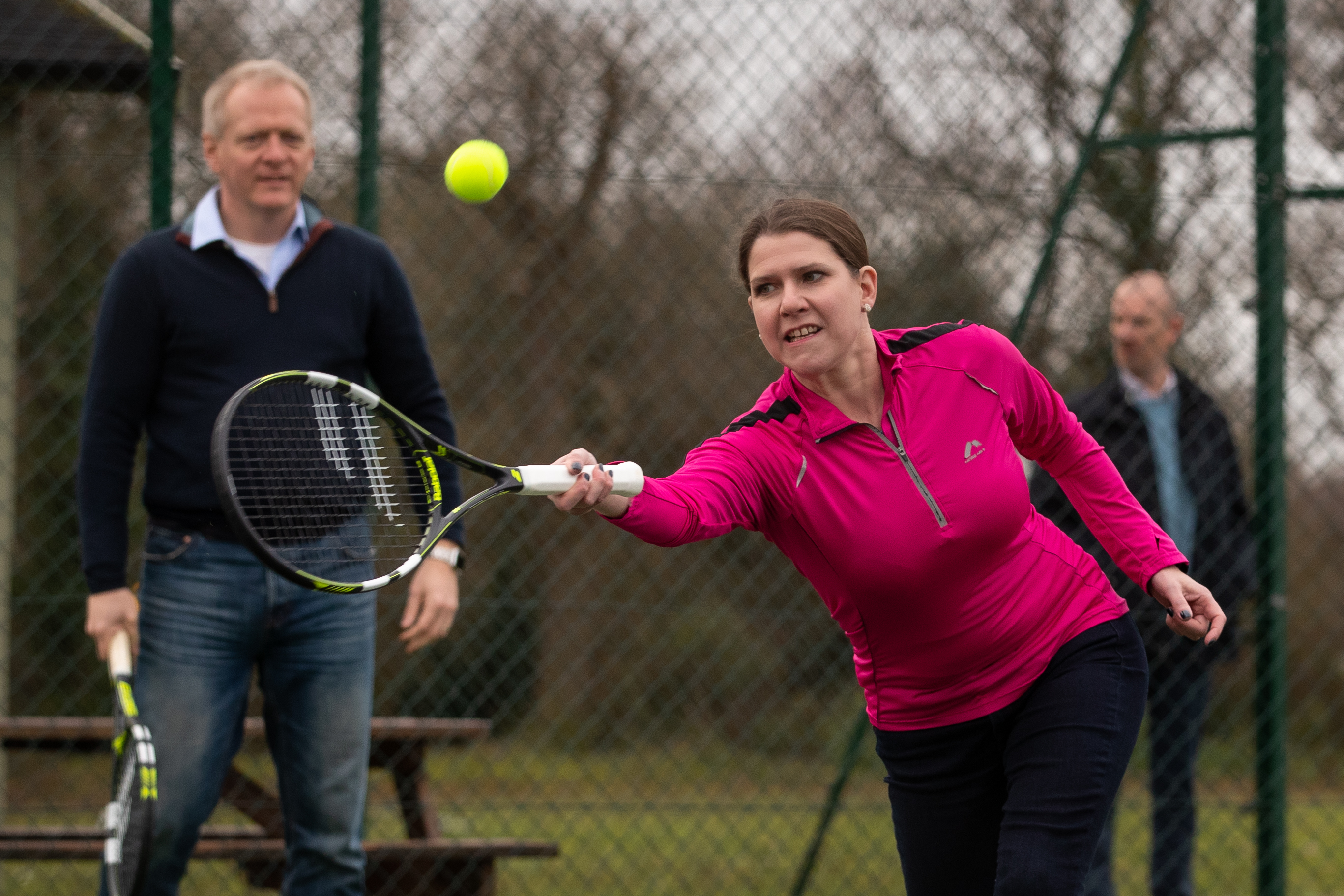 Liberal Democrat Leader Jo Swinson playing tennis as she visits Shinfield Tennis Club, where she will discuss policies aimed at promoting a healthy lifestyle and tackling child obesity, while on the General Election campaign trail.