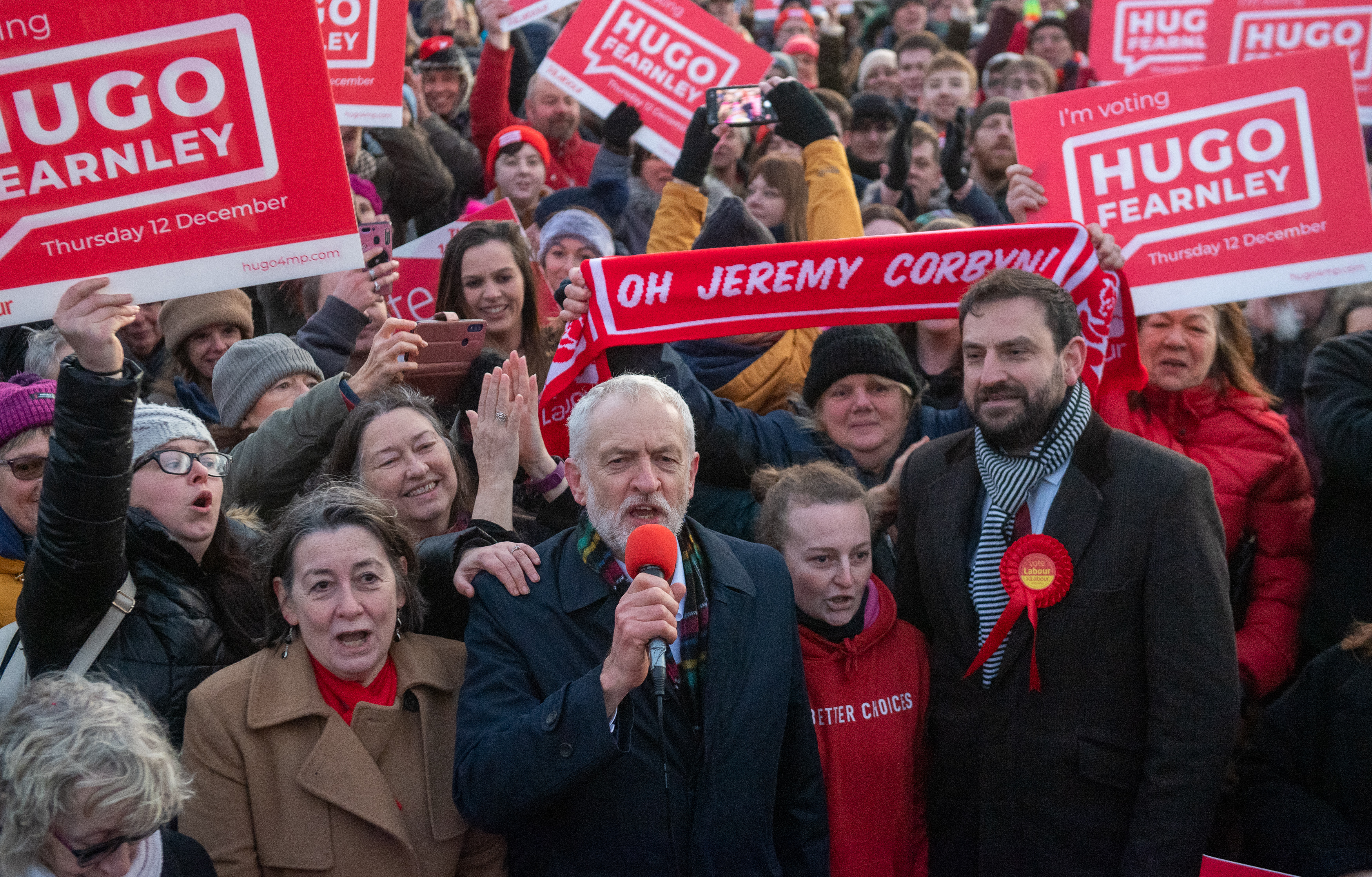 Labour Party leader Jeremy Corbyn and Labour parliamentary candidate for Scarborough and Whitby, Hugo Fearnley (right) during a rally in Whitby, while on the General Election campaign trail.