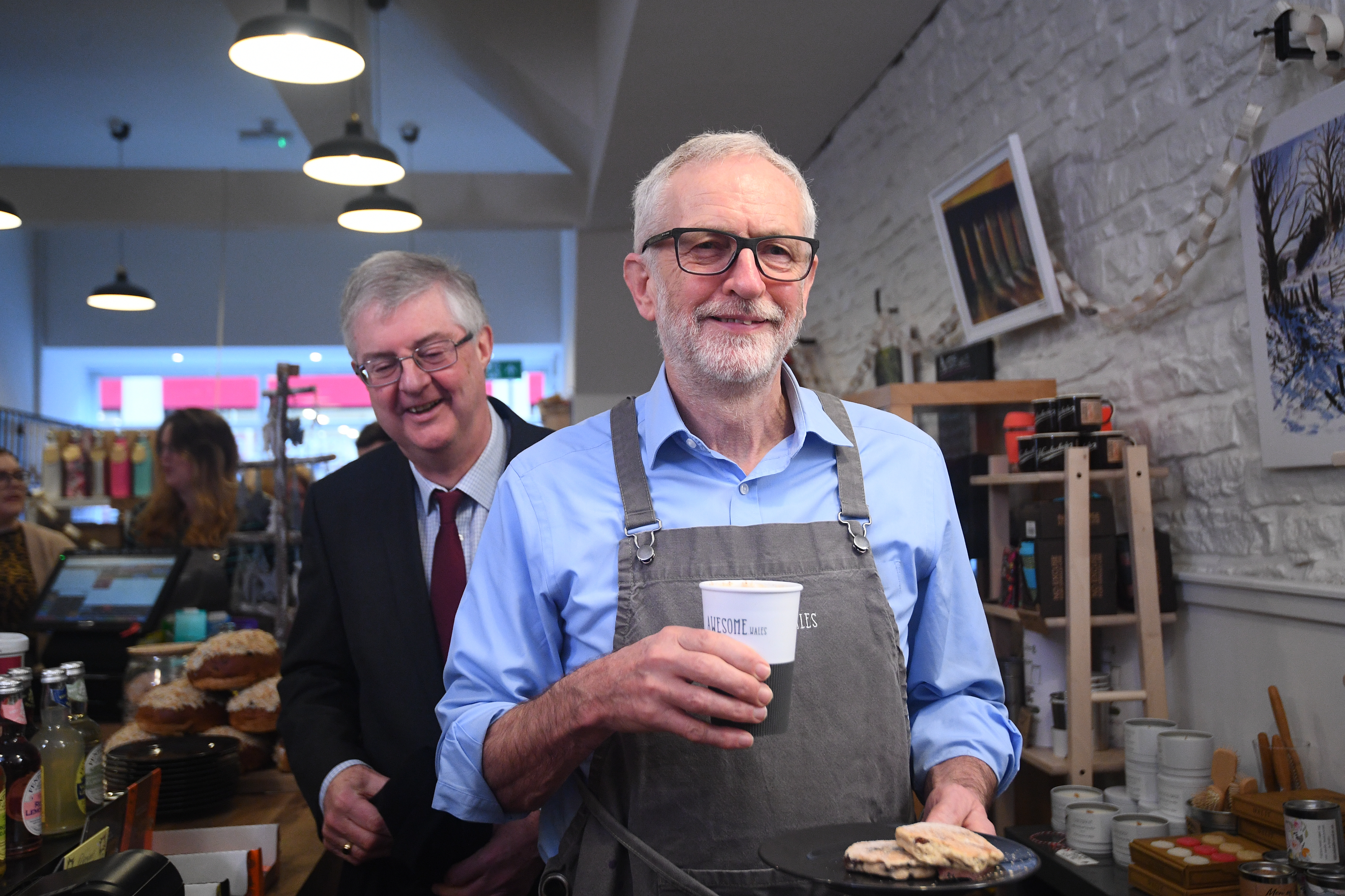 Labour Party leader Jeremy Corbyn in a coffee shop in Barry to mark Small Business Saturday, while on the General Election campaign trail in Wales.