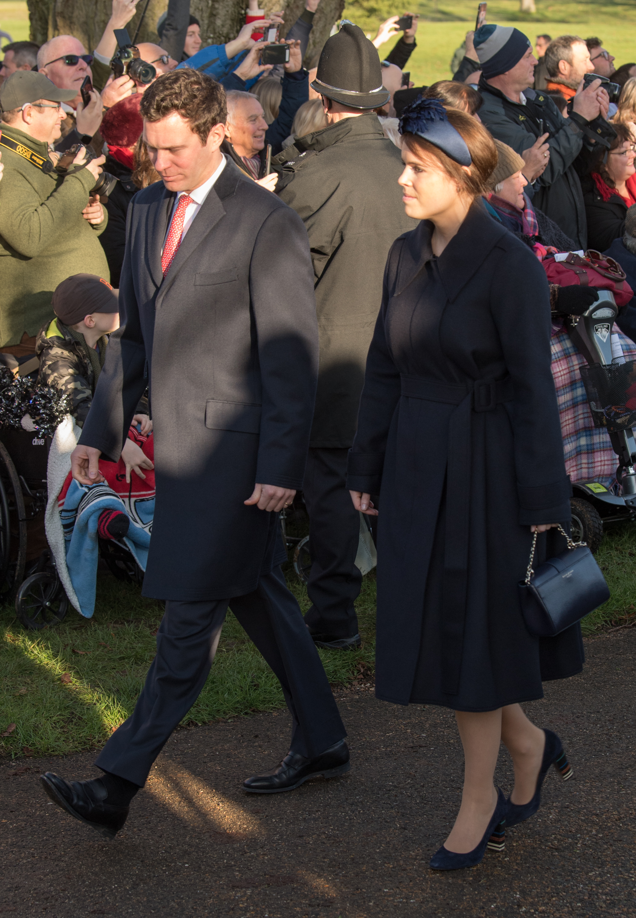 KING'S LYNN, ENGLAND - DECEMBER 25: Princess Eugenie and Jack Brooksbank  attend the Christmas Day Church service at Church of St Mary Magdalene on the Sandringham estate on December 25, 2019 in King's Lynn, United Kingdom. (Photo by Pool/Samir Hussein/WireImage)