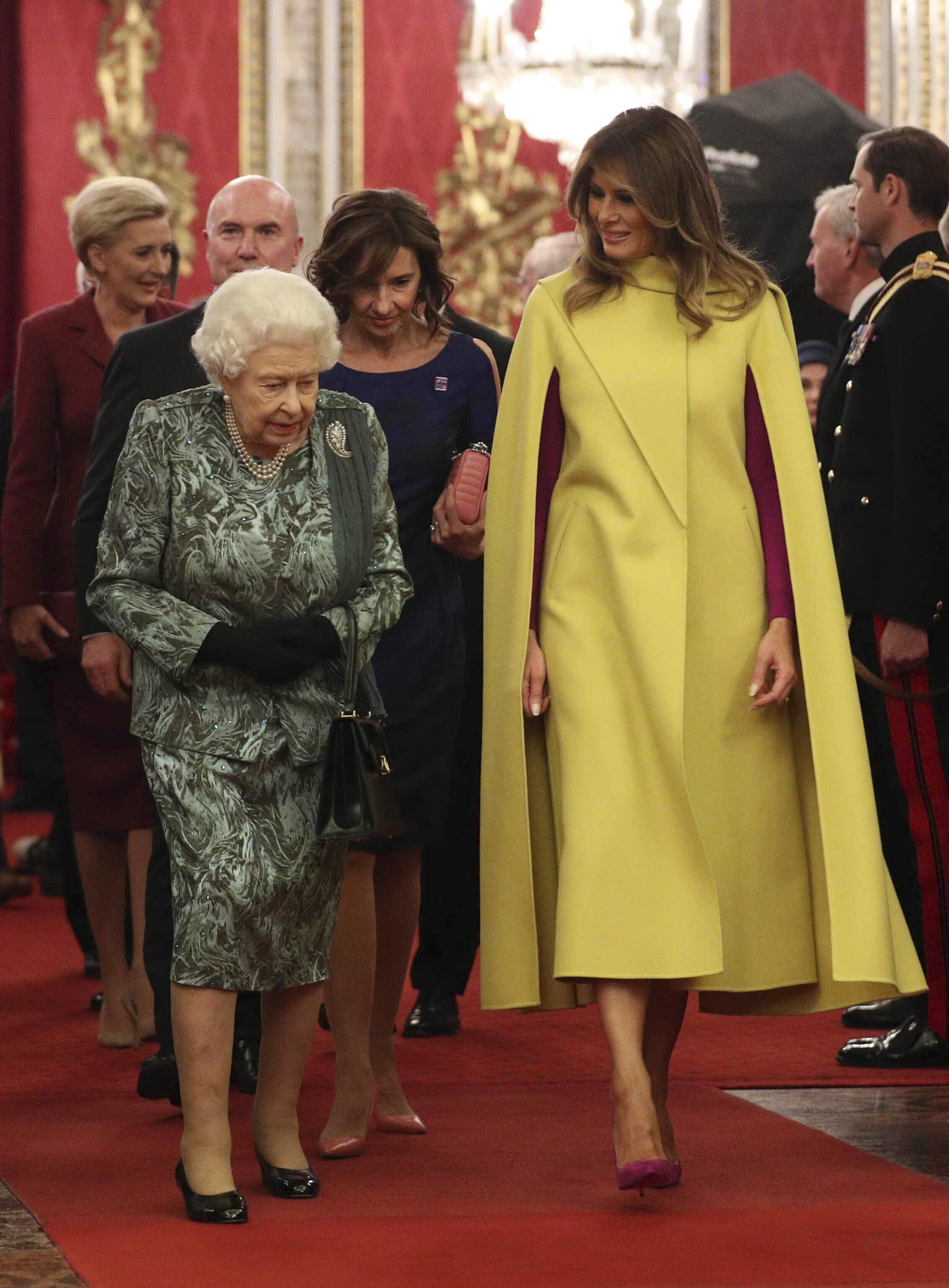 Photo by: KGC-512/STAR MAX/IPx 2019 12/3/19 The Queen, accompanied by other Members of the Royal Family, hosts a reception for NATO leaders, spouses or partners, and delegations, at Buckingham Palace in London, England. Here, Queen Elizabeth, Melania Trump