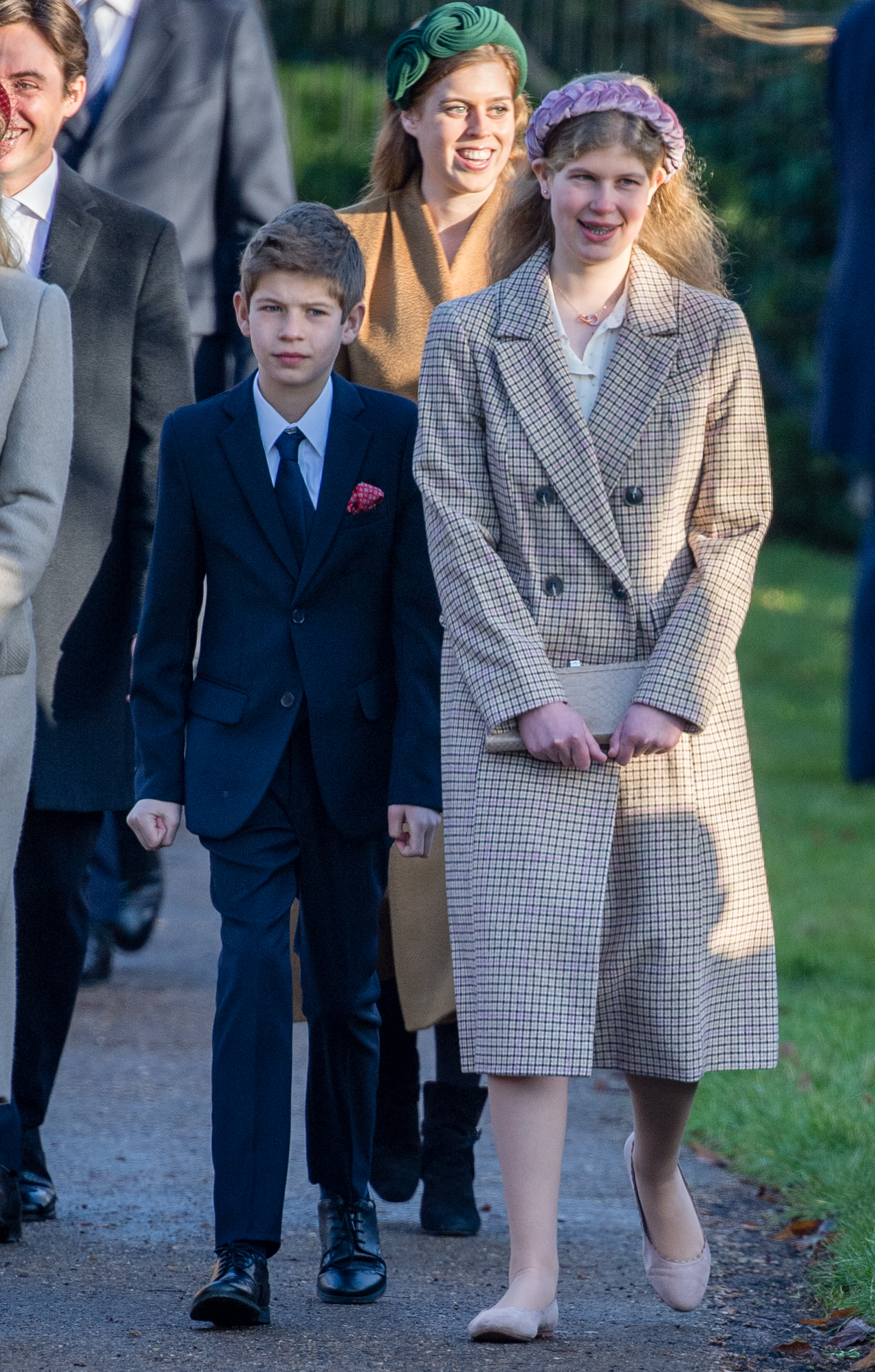 KING'S LYNN, ENGLAND - DECEMBER 25: James Viscount Severn and Lady Louise Windsor  attend the Christmas Day Church service at Church of St Mary Magdalene on the Sandringham estate on December 25, 2019 in King's Lynn, United Kingdom. (Photo by Pool/Samir Hussein/WireImage)