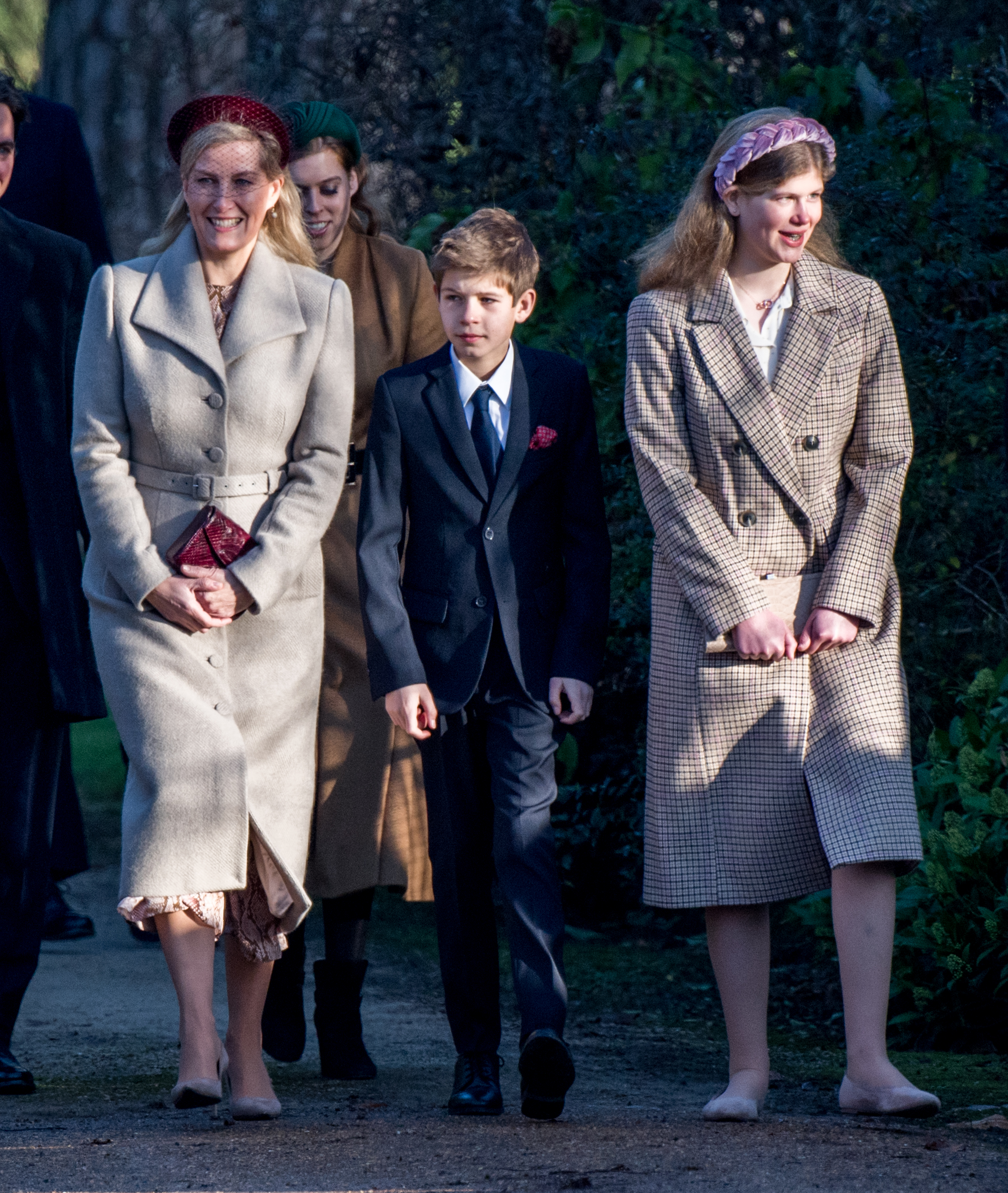 KING'S LYNN, ENGLAND - DECEMBER 25: Sophie, Countess of Wessex with James Viscount Severn and Lady Louise Windsor  attend the Christmas Day Church service at Church of St Mary Magdalene on the Sandringham estate on December 25, 2019 in King's Lynn, United Kingdom. (Photo by Pool/Samir Hussein/WireImage)