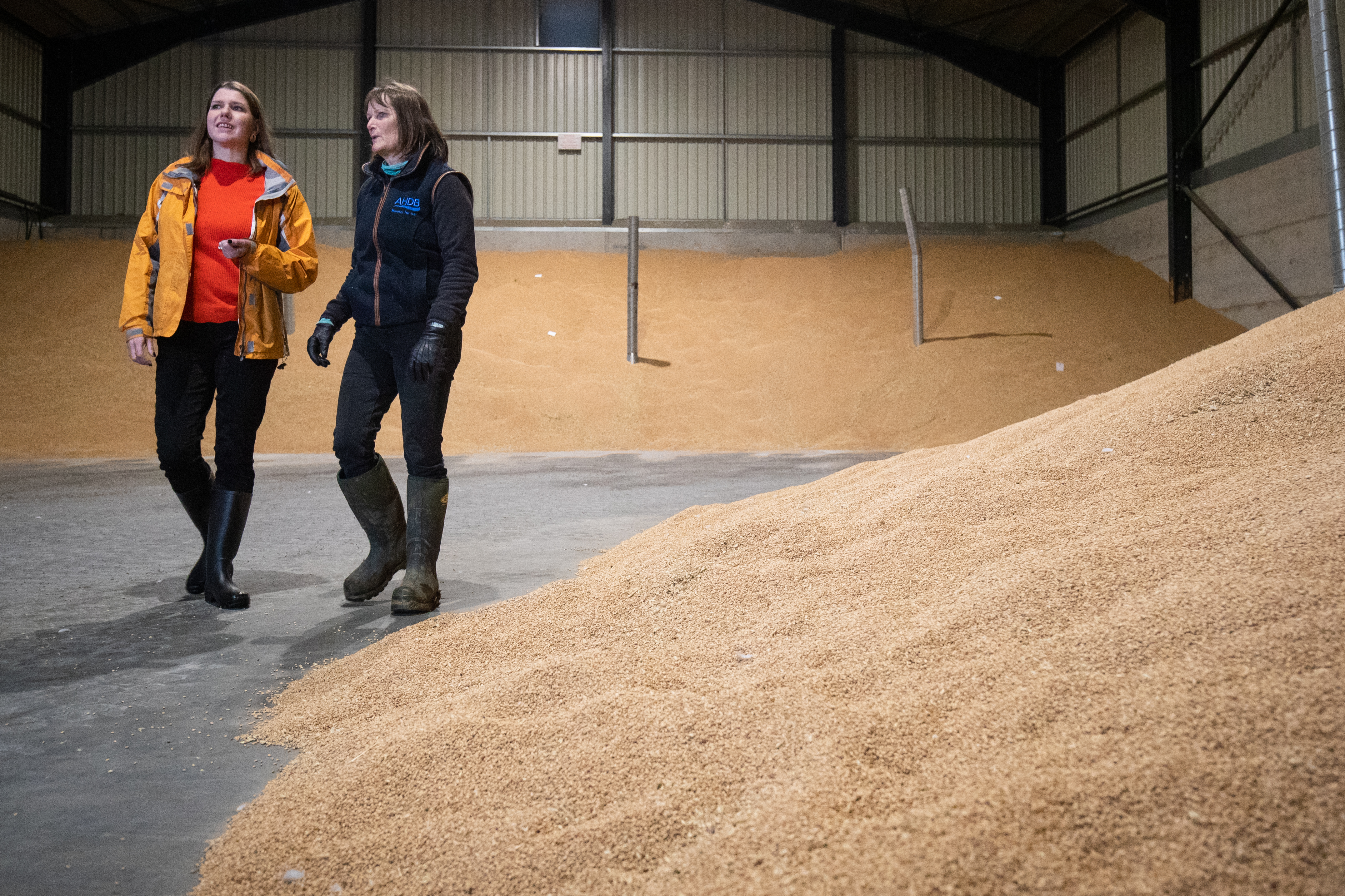 Jo Swinson and farmer Christy Willett as the Liberal Democrat leader visits an arable farm in Galleywood outside of Chelmsford to discuss the impact of Brexit and a Donald Trump trade deal.