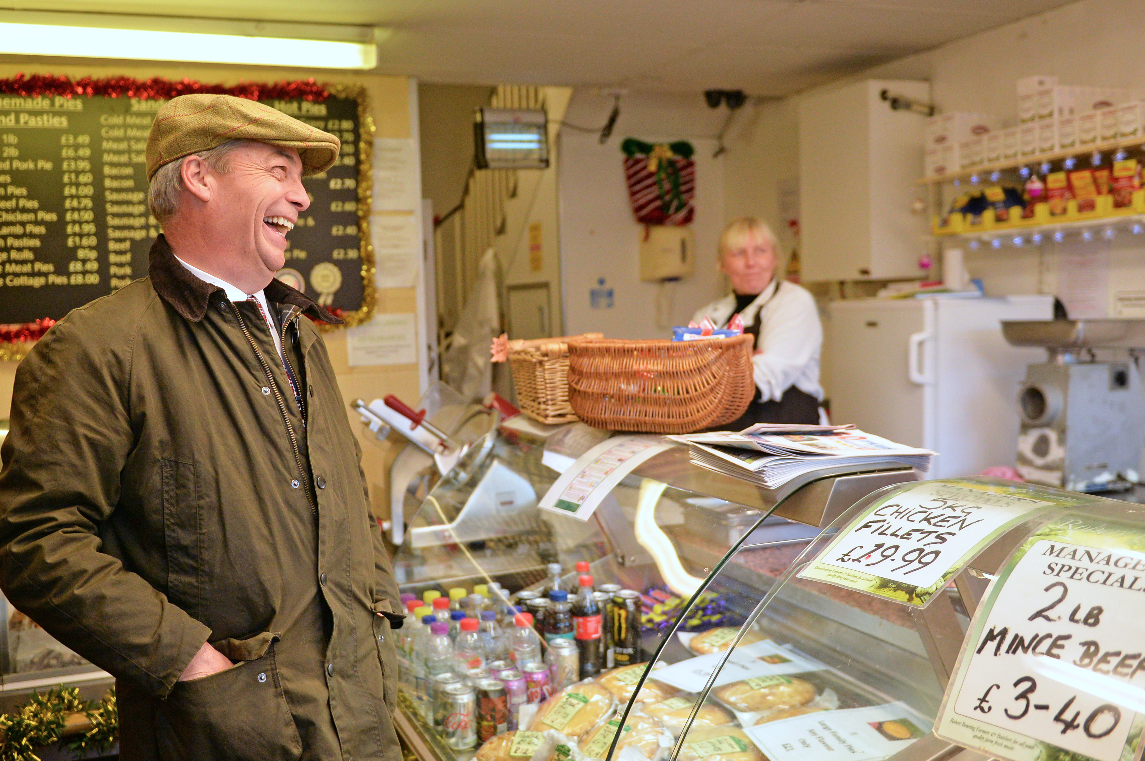 Brexit Party leader Nigel Farage inside a pie shop during a visit to Bolsover, Chesterfield, whilst on the General Election campaign trail.