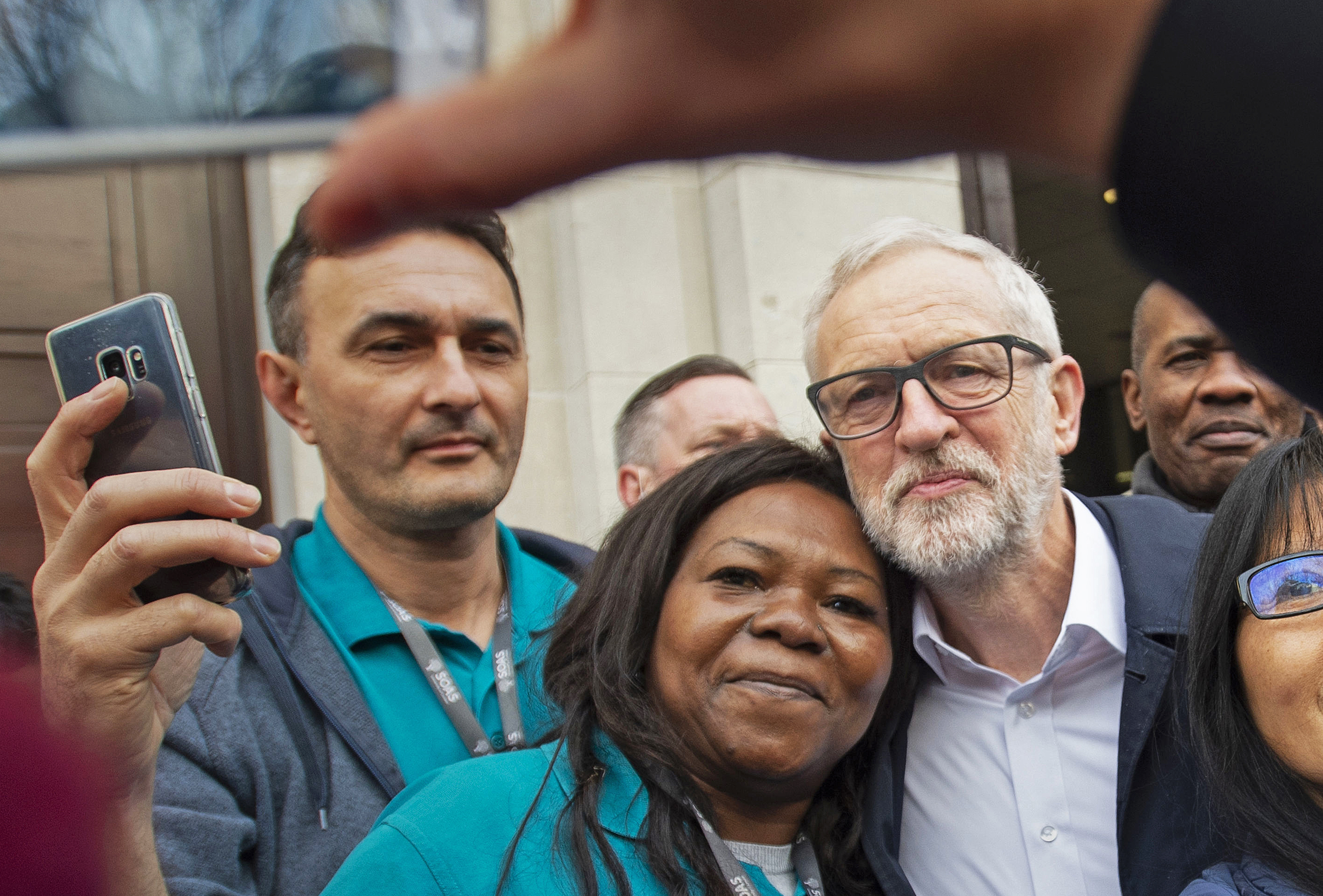 Labour leader Jeremy Corbyn has a photo taken outside Birkbeck/SOAS University of London, at the announcement of his parties of the plan for the extension of workers?? rights, whilst on the General Election campaign trail.