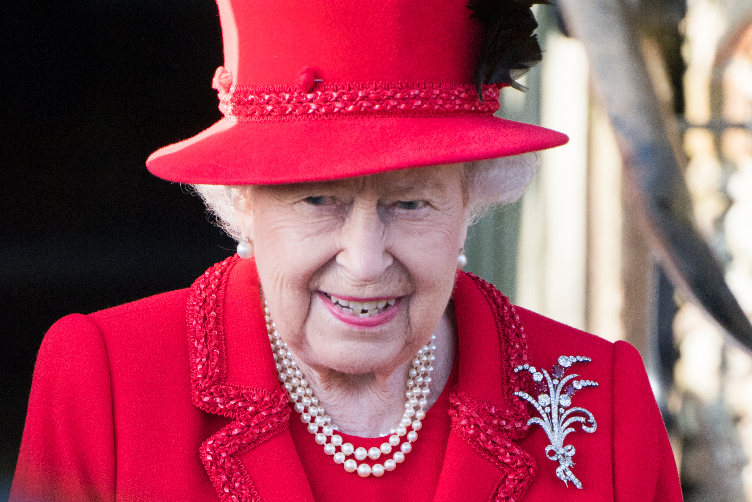 KING'S LYNN, ENGLAND - DECEMBER 25: Queen Elizabeth II attends the Christmas Day Church service at Church of St Mary Magdalene on the Sandringham estate on December 25, 2019 in King's Lynn, United Kingdom. (Photo by Pool/Samir Hussein/WireImage)