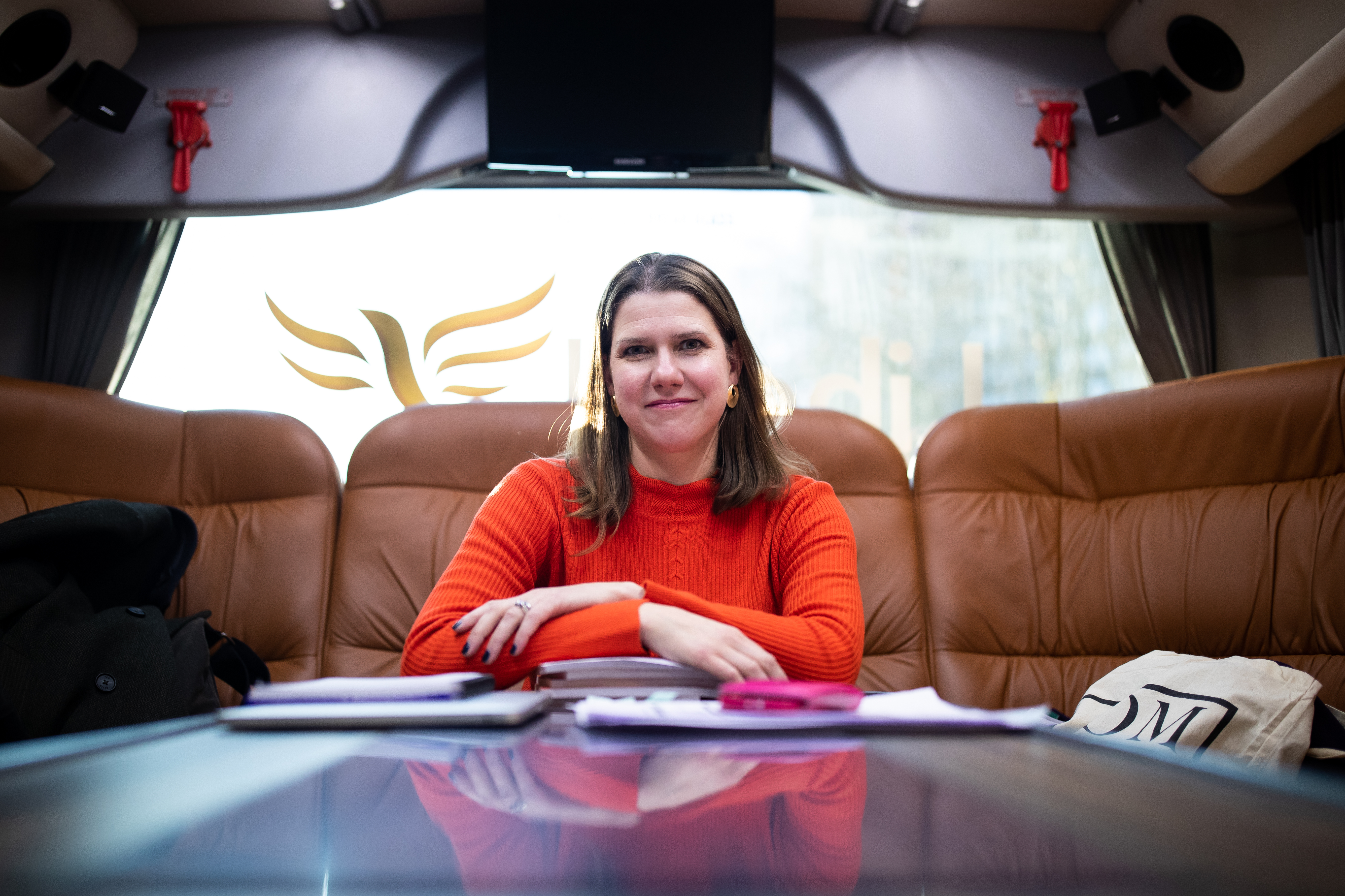 Liberal Democrat Leader Jo Swinson on the election campaign bus on route to Chelmsford to discuss the impact of Brexit and Trump trade deal with farmers, whilst on the General Election campaign trail.