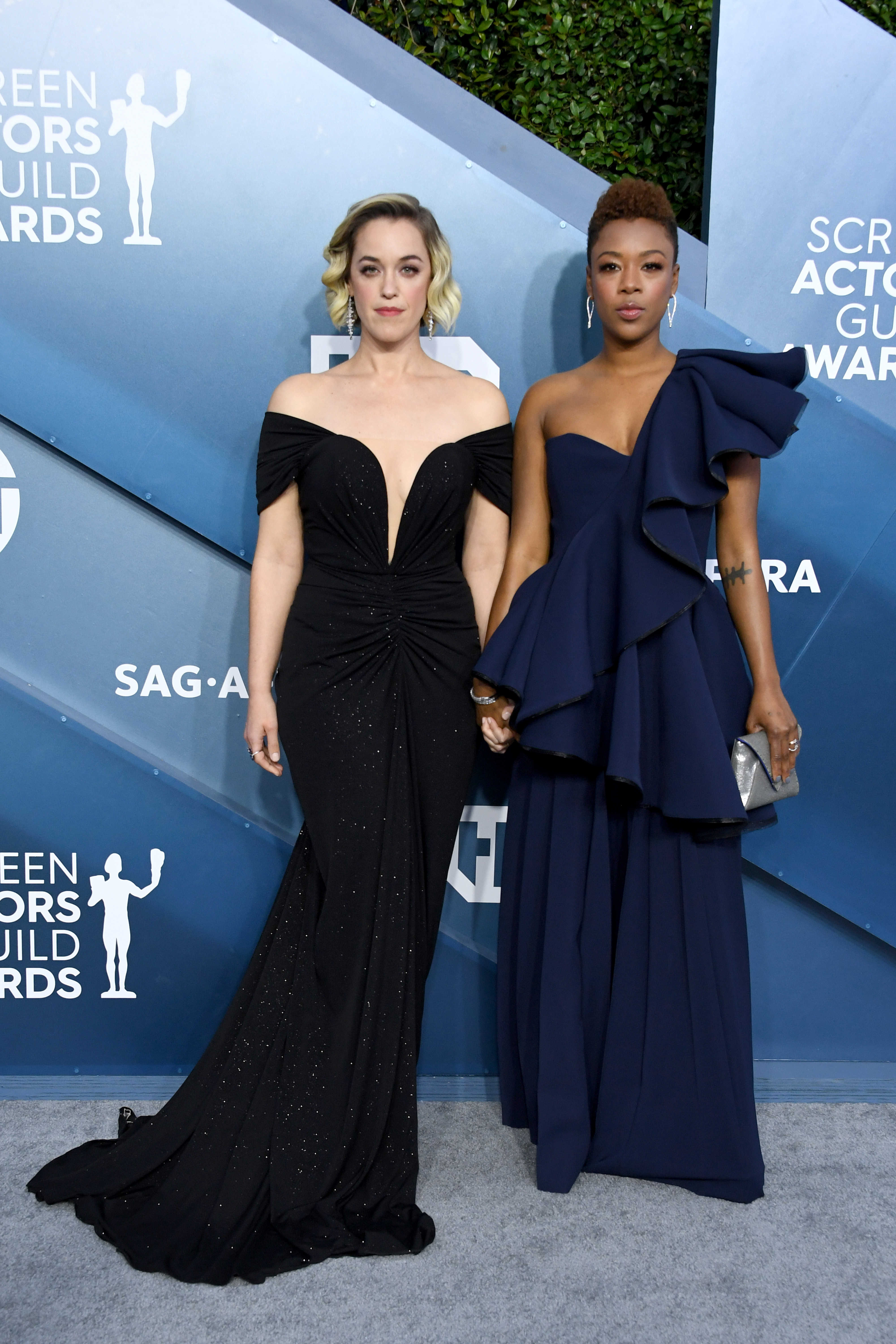 LOS ANGELES, CALIFORNIA - JANUARY 19: (L-R) Lauren Morelli and Samira Wiley attend the 26th Annual Screen ActorsGuild Awards at The Shrine Auditorium on January 19, 2020 in Los Angeles, California. (Photo by Jon Kopaloff/Getty Images)
