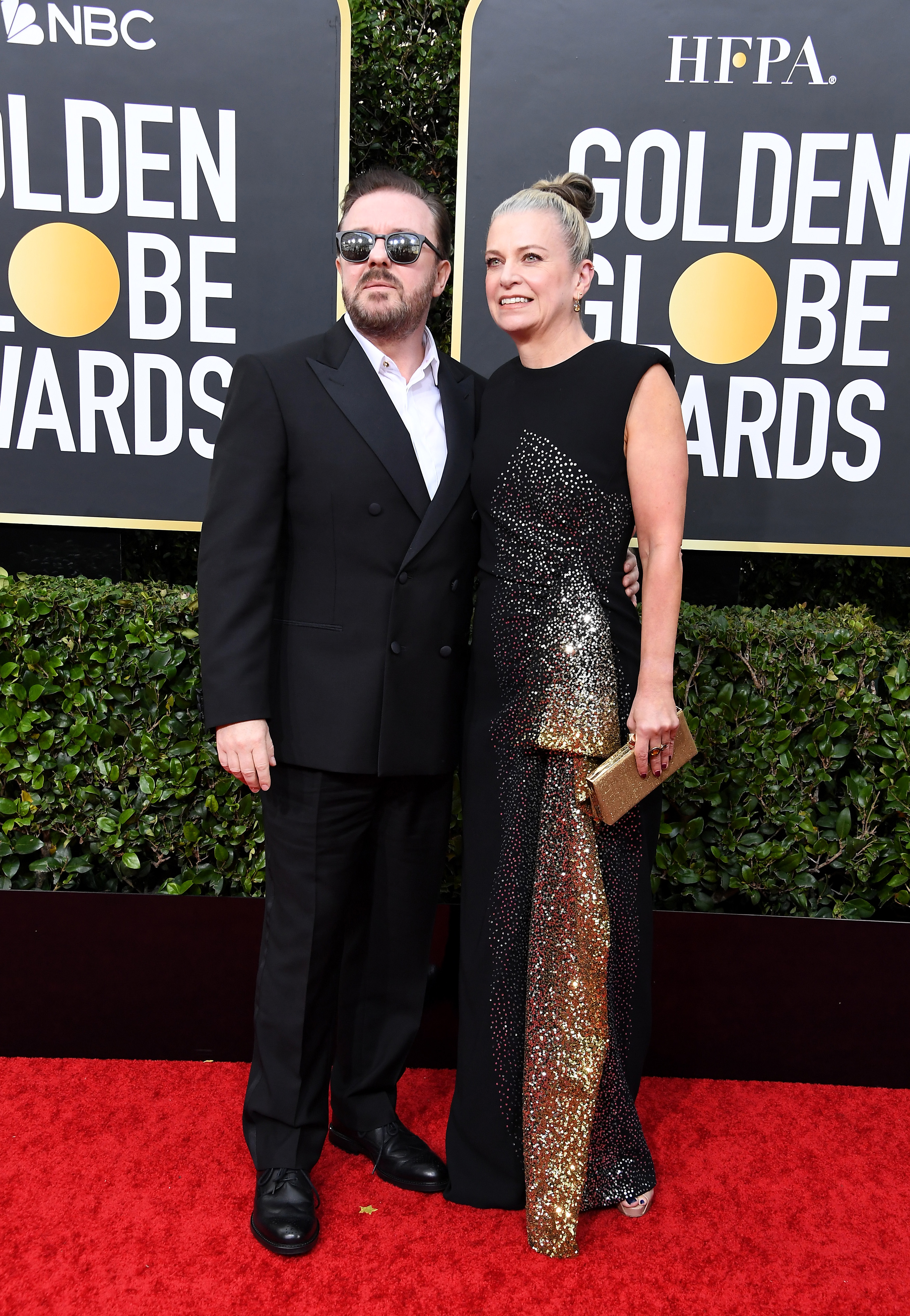 BEVERLY HILLS, CALIFORNIA - JANUARY 05: Ricky Gervais and Jane Fallon attend the 77th Annual Golden Globe Awards at The Beverly Hilton Hotel on January 05, 2020 in Beverly Hills, California. (Photo by Steve Granitz/WireImage)