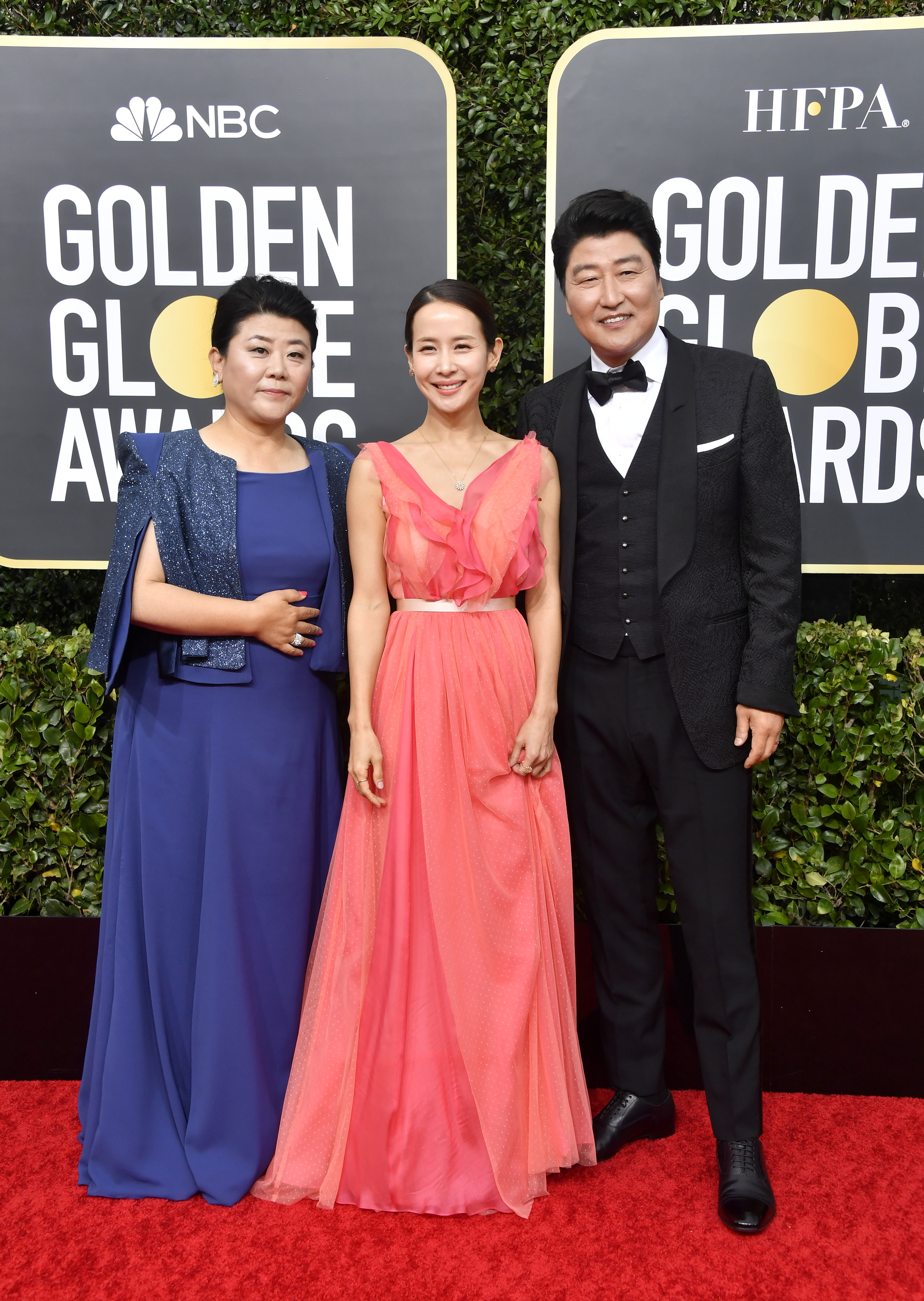 BEVERLY HILLS, CALIFORNIA - JANUARY 05: (L-R) Lee Jeong-eun, Cho Yeo-jeong, and Song Kang-ho attend the 77th Annual Golden Globe Awards at The Beverly Hilton Hotel on January 05, 2020 in Beverly Hills, California. (Photo by Frazer Harrison/Getty Images)