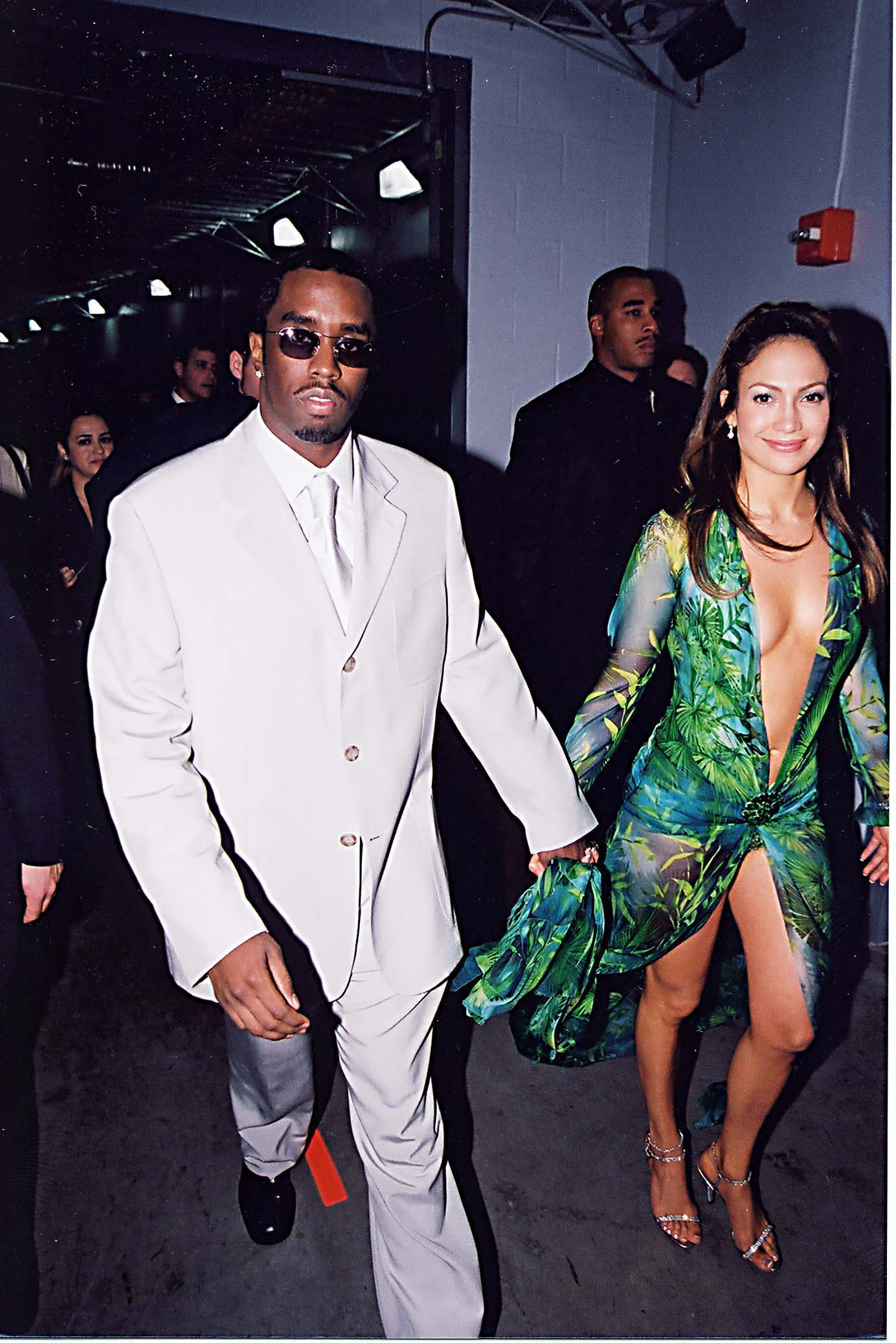 Sean Coombs & Jennifer Lopez during 2000 GRAMMY Awards at Staples Center in Los Angeles, California, United States. (Photo by Jeff Kravitz/FilmMagic, Inc)
