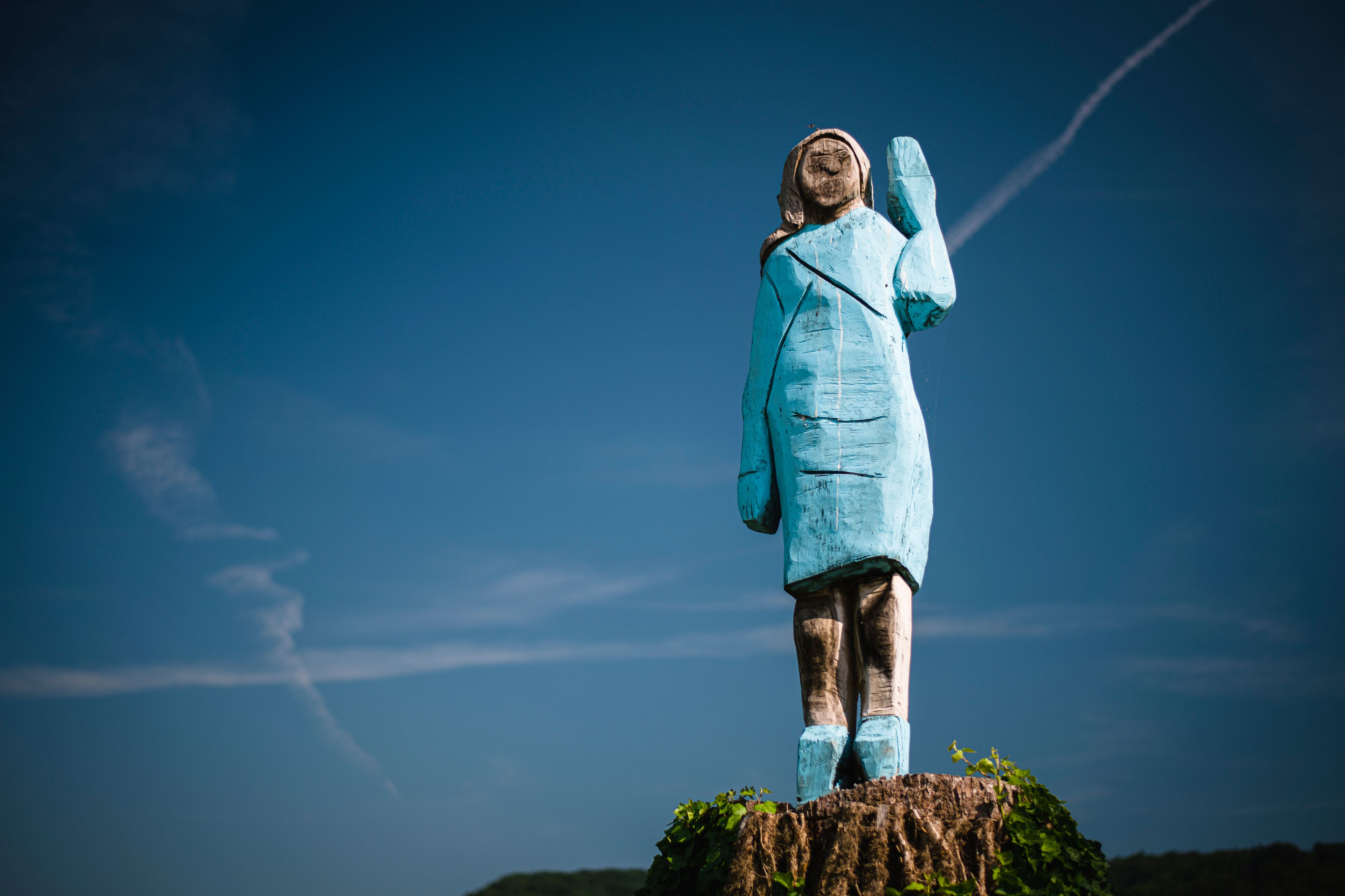A picture taken on July 5, 2019 shows what conceptual artist Ales 'Maxi' Zupevc claims is the first ever monument of Melania Trump, set in the fields near town of Sevnica, US First Ladys hometown. - After Melania cake, Melania honey, and even Melania slippers, the Slovenian hometown of the US's first lady will now boast a statue of its most famous daughter -- albeit one which has faced decidedly mixed reviews. The life-size statue on the outskirts of Sevnica was inaugurated on July 5, 2019. (Photo by Jure Makovec / AFP) / RESTRICTED TO EDITORIAL USE - MANDATORY MENTION OF THE ARTIST UPON PUBLICATION - TO ILLUSTRATE THE EVENT AS SPECIFIED IN THE CAPTION        (Photo credit should read JURE MAKOVEC/AFP via Getty Images)