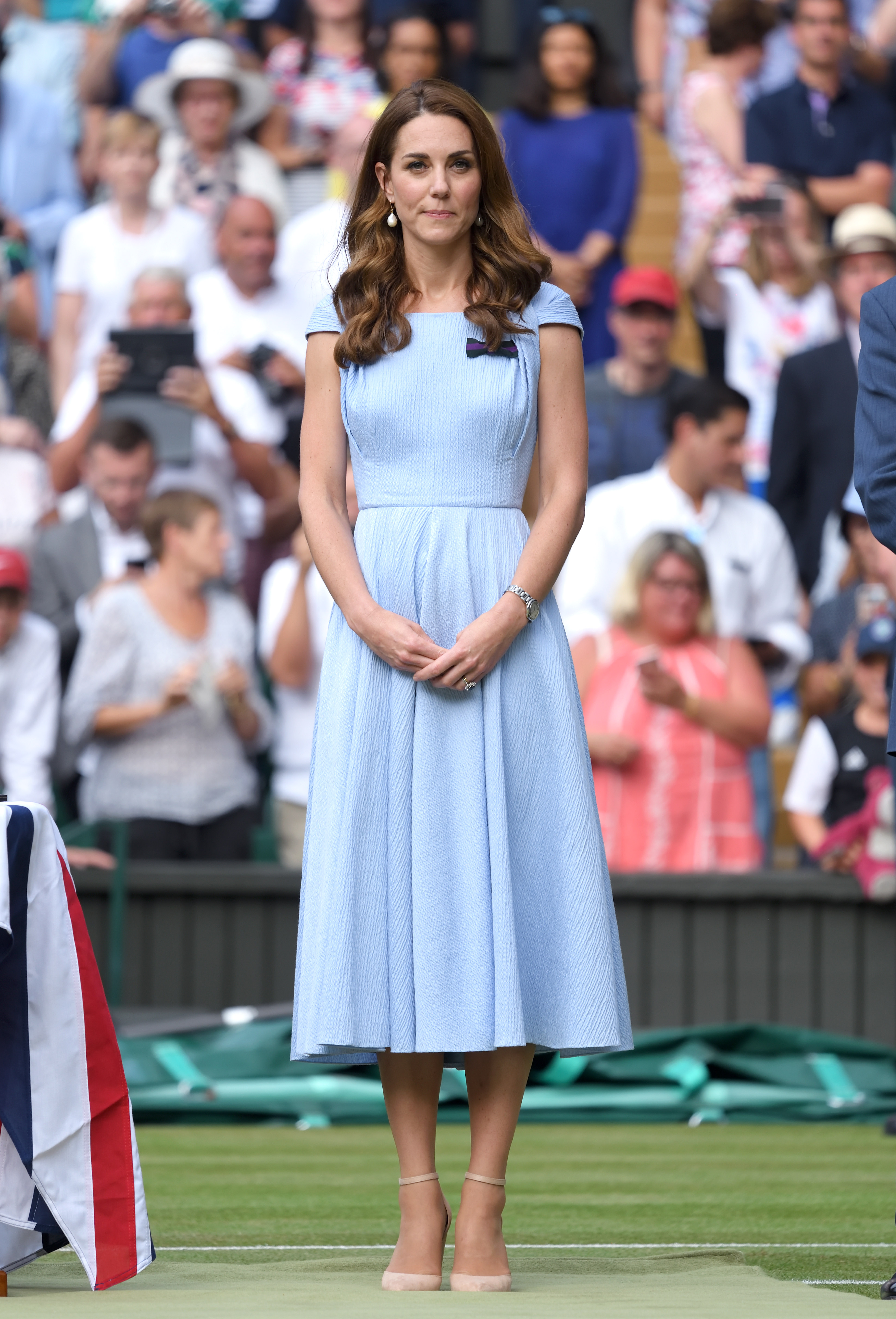 LONDON, ENGLAND - JULY 14: Catherine, Duchess of Cambridge on Centre court during Men's Finals Day of the Wimbledon Tennis Championships at All England Lawn Tennis and Croquet Club on July 14, 2019 in London, England. (Photo by Karwai Tang/Getty Images)