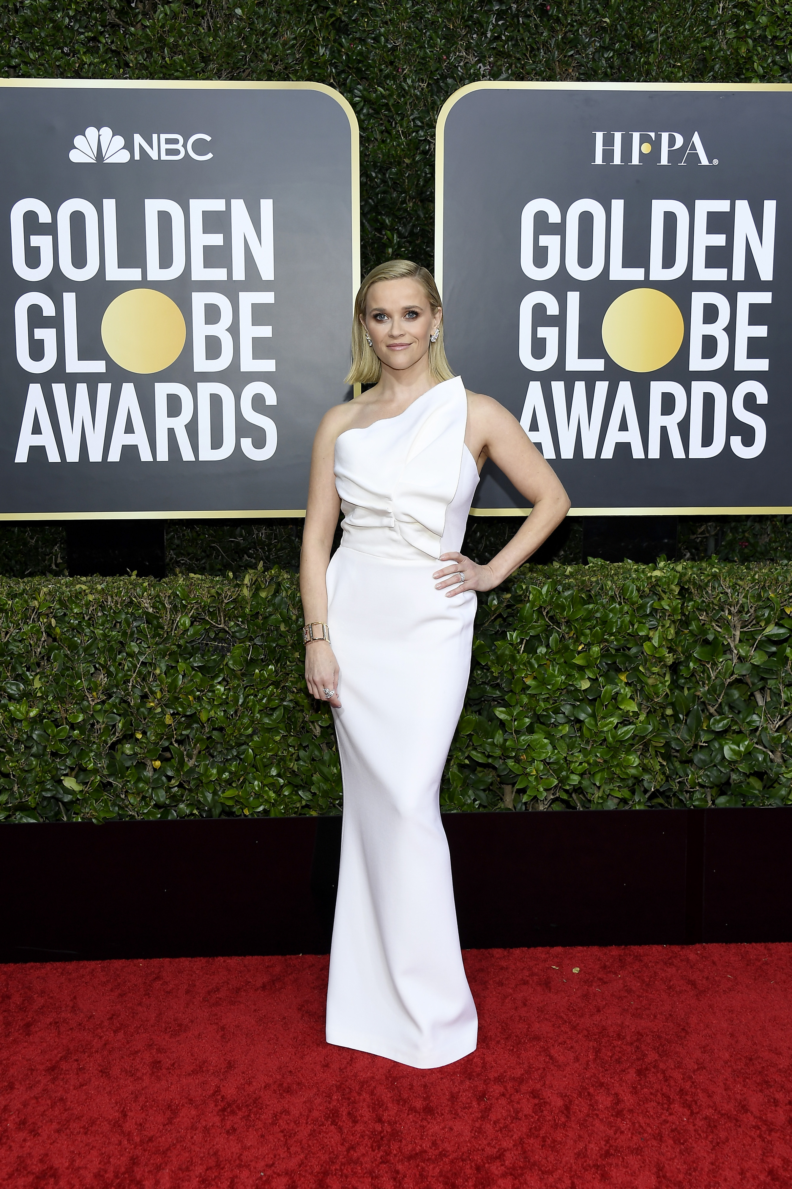 BEVERLY HILLS, CALIFORNIA - JANUARY 05: 77th ANNUAL GOLDEN GLOBE AWARDS -- Pictured: Reese Witherspoon arrives to the 77th Annual Golden Globe Awards held at the Beverly Hilton Hotel on January 5, 2020. -- (Photo by: Kevork Djansezian/NBC/NBCU Photo Bank via Getty Images)