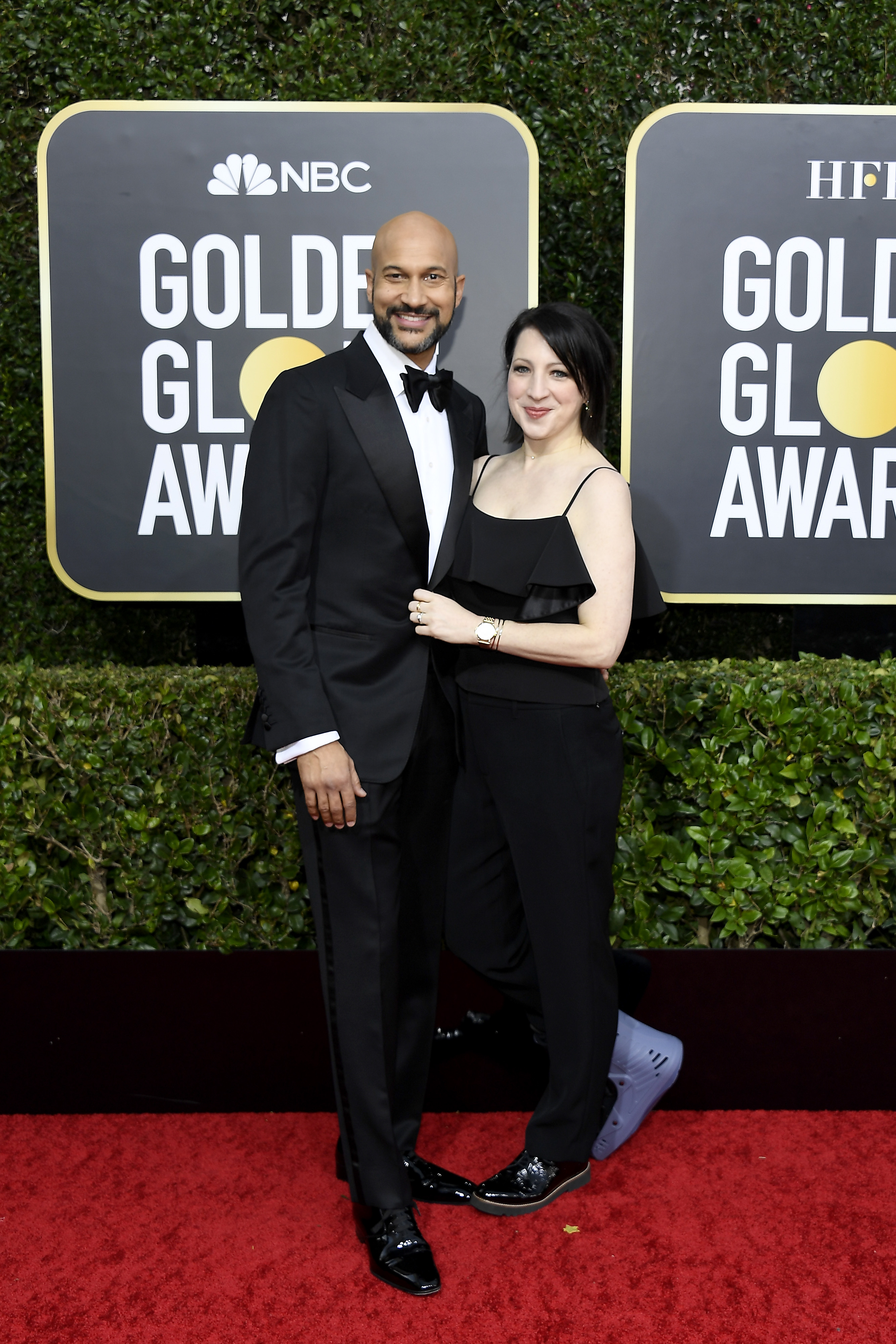 BEVERLY HILLS, CALIFORNIA - JANUARY 05: 77th ANNUAL GOLDEN GLOBE AWARDS -- Pictured: (l-r) Keegan-Michael Key and Elisa Pugliese arrive to the 77th Annual Golden Globe Awards held at the Beverly Hilton Hotel on January 5, 2020. -- (Photo by: Kevork Djansezian/NBC/NBCU Photo Bank via Getty Images)