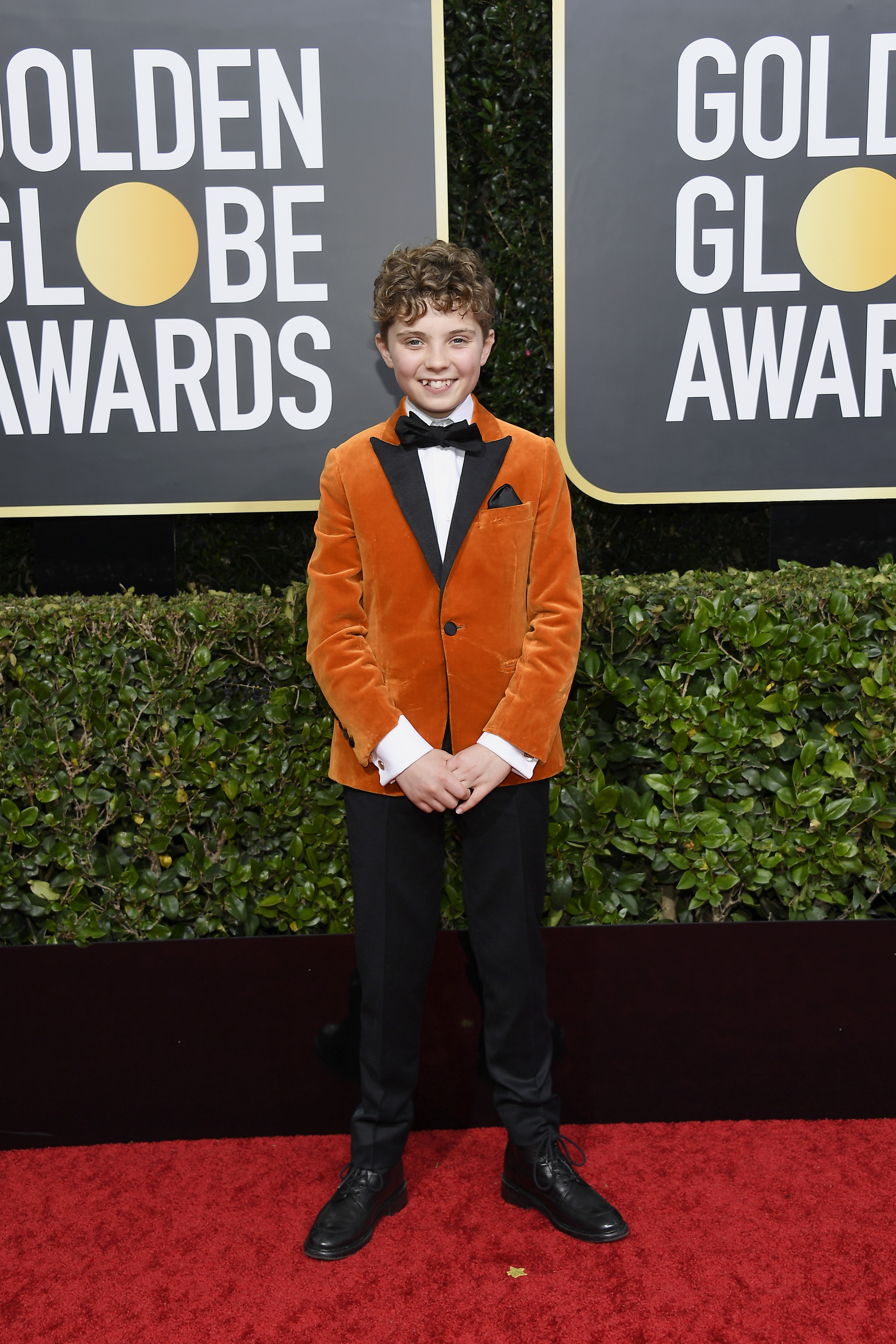 BEVERLY HILLS, CALIFORNIA - JANUARY 05: 77th ANNUAL GOLDEN GLOBE AWARDS -- Pictured: Roman Griffin Davis arrives to the 77th Annual Golden Globe Awards held at the Beverly Hilton Hotel on January 5, 2020. -- (Photo by: Kevork Djansezian/NBC/NBCU Photo Bank via Getty Images)