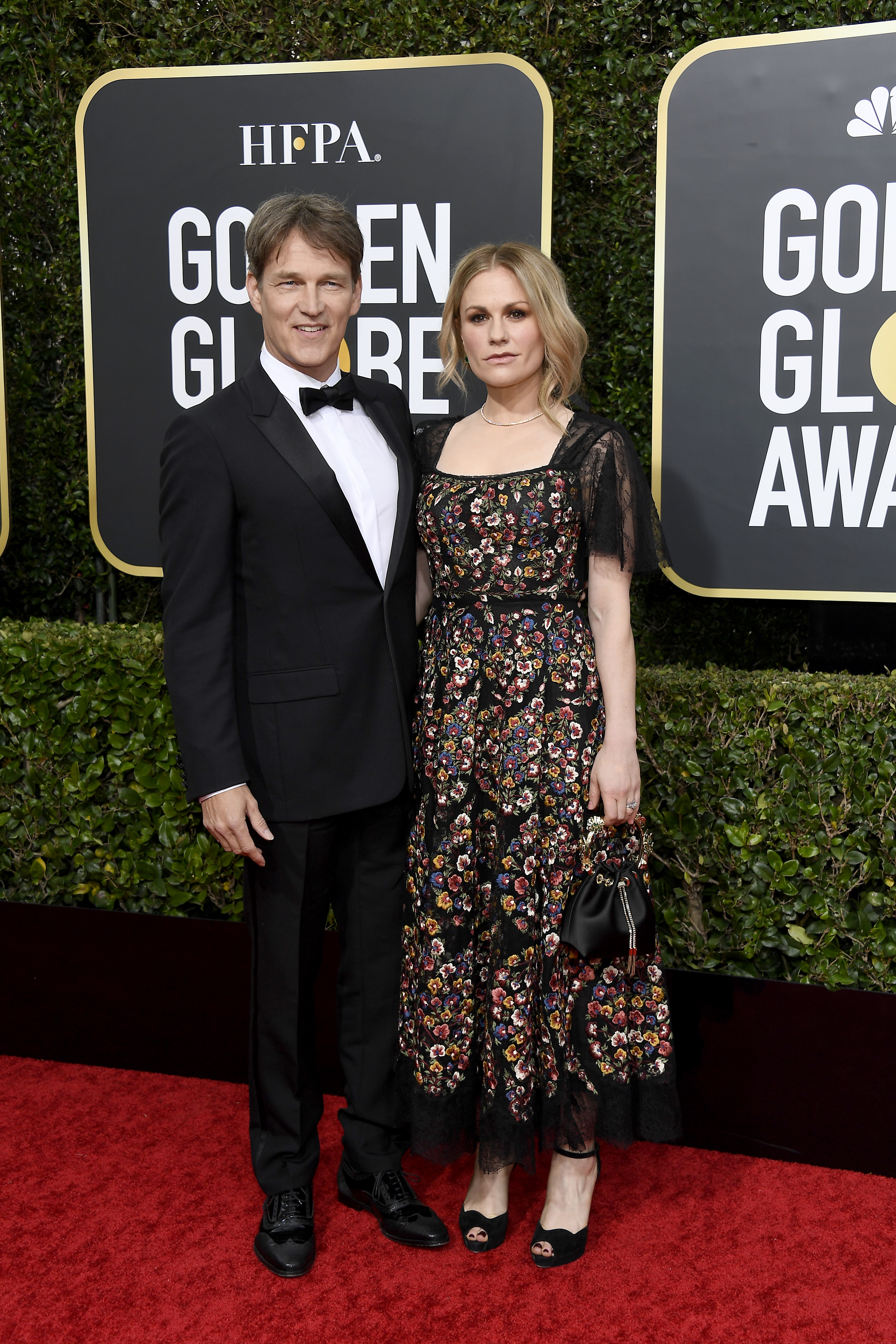 BEVERLY HILLS, CALIFORNIA - JANUARY 05: 77th ANNUAL GOLDEN GLOBE AWARDS -- Pictured: (l-r) Anna Paquin and Stephen Moyer arrive to the 77th Annual Golden Globe Awards held at the Beverly Hilton Hotel on January 5, 2020. -- (Photo by: Kevork Djansezian/NBC/NBCU Photo Bank via Getty Images)