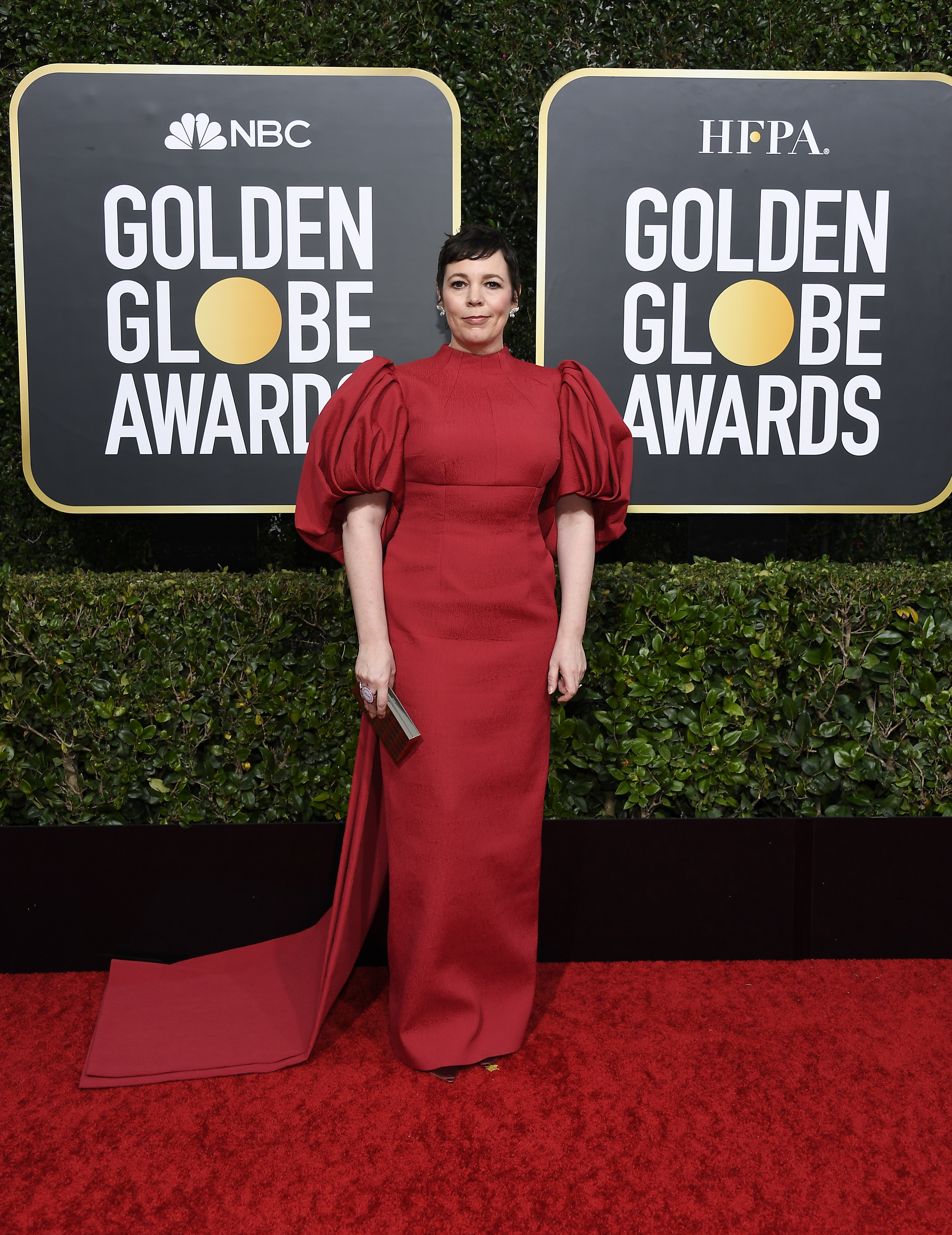 BEVERLY HILLS, CALIFORNIA - JANUARY 05: 77th ANNUAL GOLDEN GLOBE AWARDS -- Pictured: Olivia Colman arrives to the 77th Annual Golden Globe Awards held at the Beverly Hilton Hotel on January 5, 2020. -- (Photo by: Kevork Djansezian/NBC/NBCU Photo Bank via Getty Images)