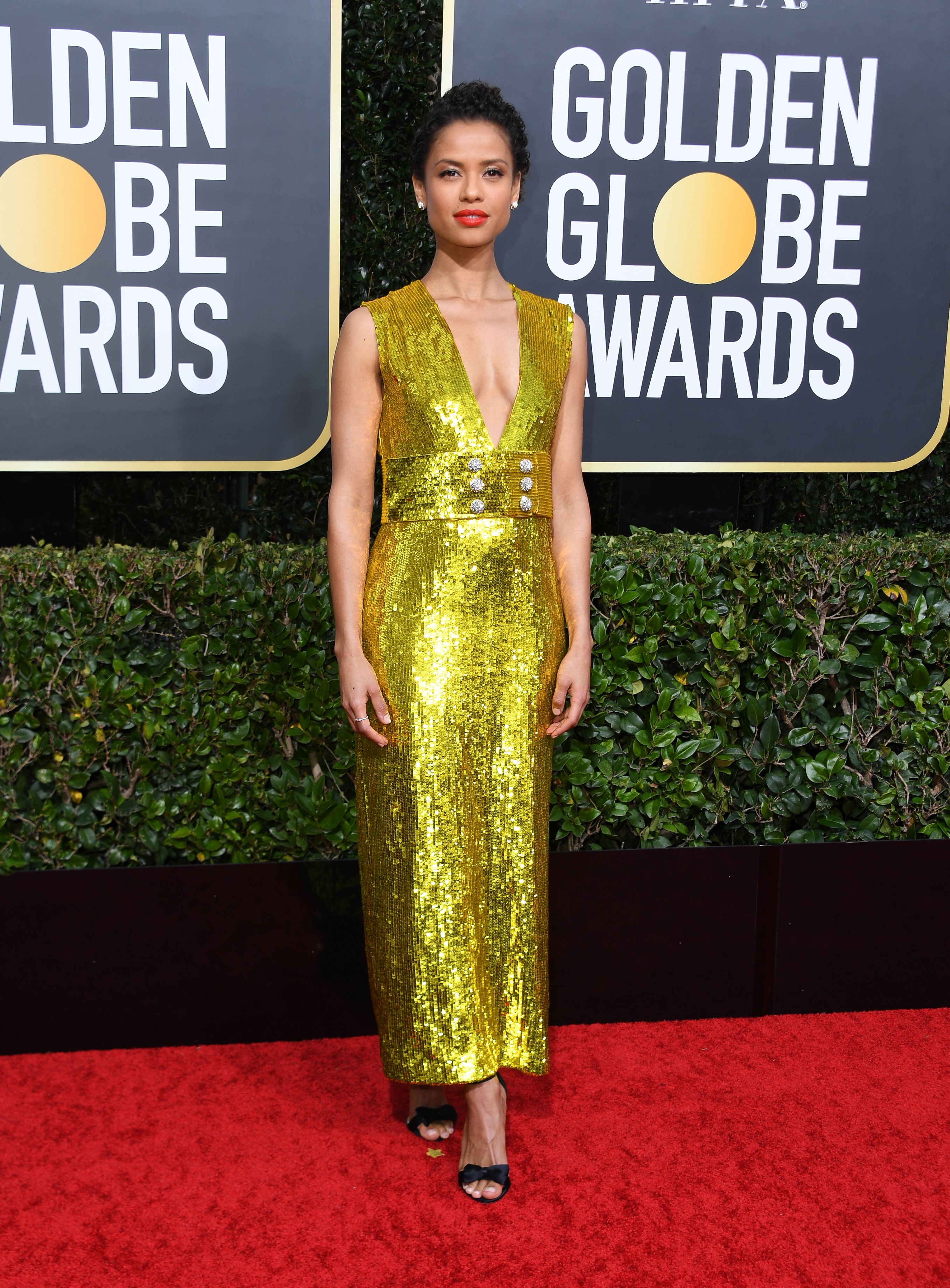 British actress Gugu Mbatha-Raw arrives for the 77th annual Golden Globe Awards on January 5, 2020, at The Beverly Hilton hotel in Beverly Hills, California. (Photo by VALERIE MACON / AFP) (Photo by VALERIE MACON/AFP via Getty Images)