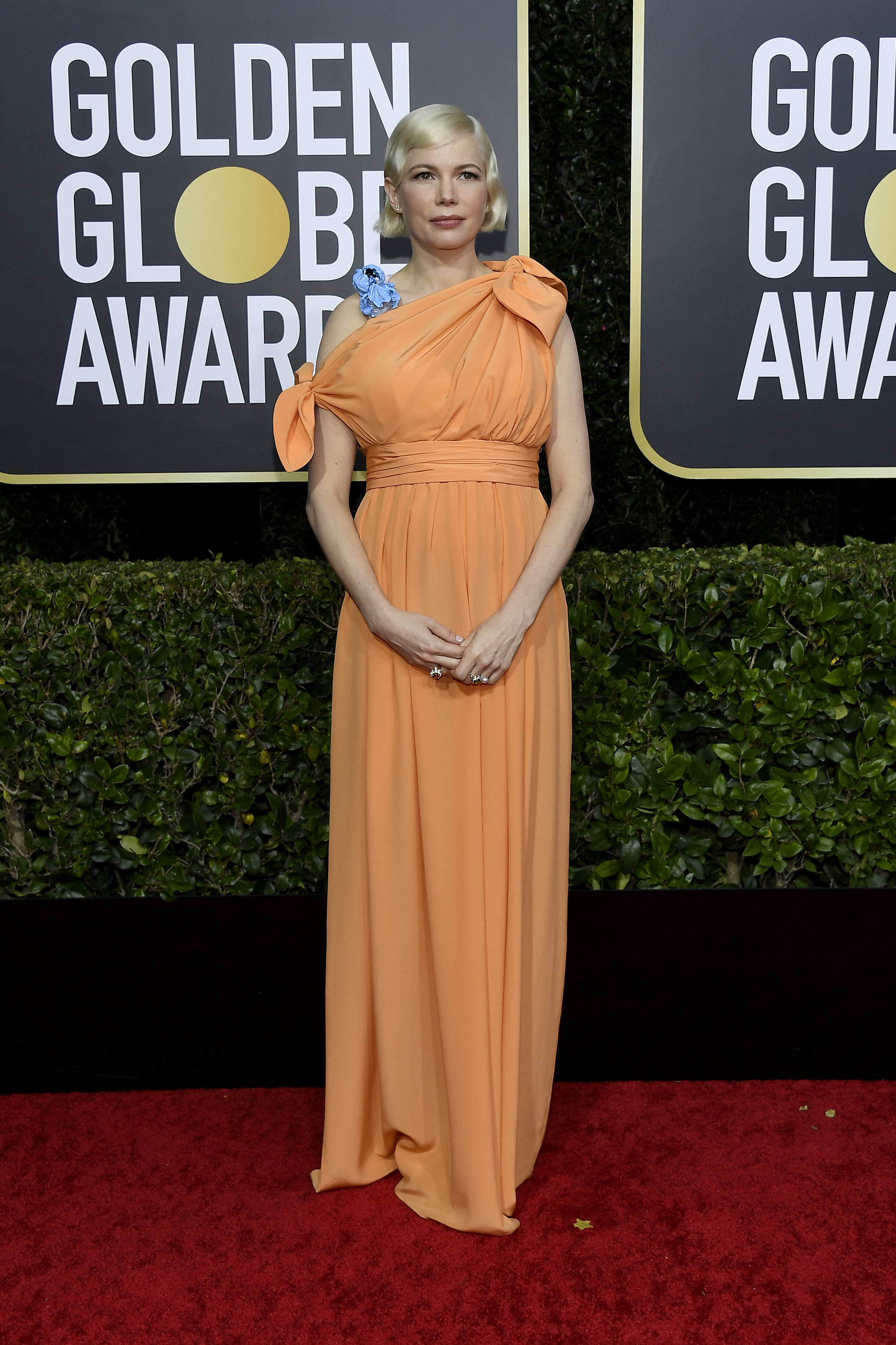 BEVERLY HILLS, CALIFORNIA - JANUARY 05: 77th ANNUAL GOLDEN GLOBE AWARDS -- Pictured: Michelle Williams arrives to the 77th Annual Golden Globe Awards held at the Beverly Hilton Hotel on January 5, 2020. -- (Photo by: Kevork Djansezian/NBC/NBCU Photo Bank via Getty Images)