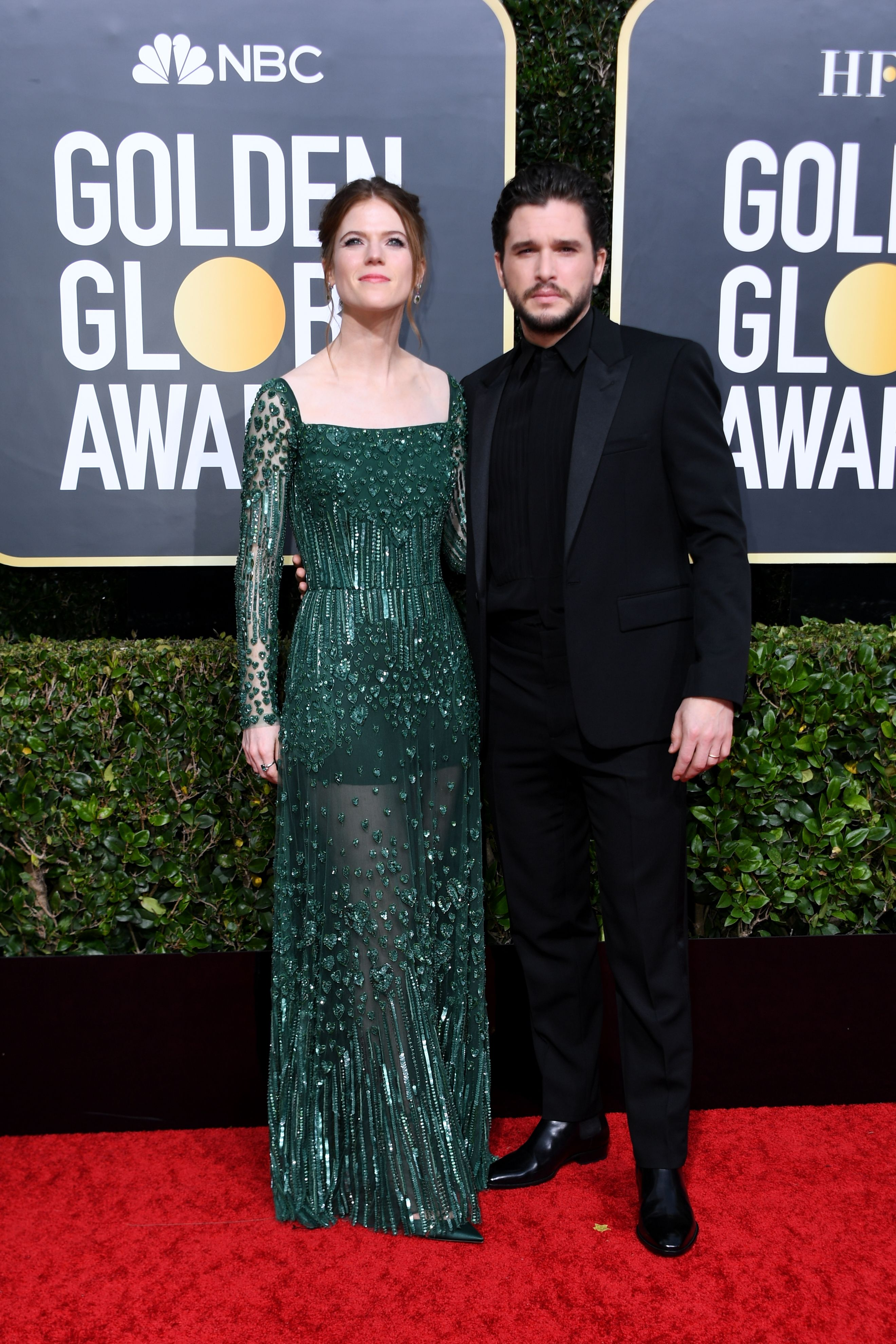 British actor Kit Harington (R) and wife actress Rose Leslie arrive for the 77th annual Golden Globe Awards on January 5, 2020, at The Beverly Hilton hotel in Beverly Hills, California. (Photo by VALERIE MACON / AFP) (Photo by VALERIE MACON/AFP via Getty Images)