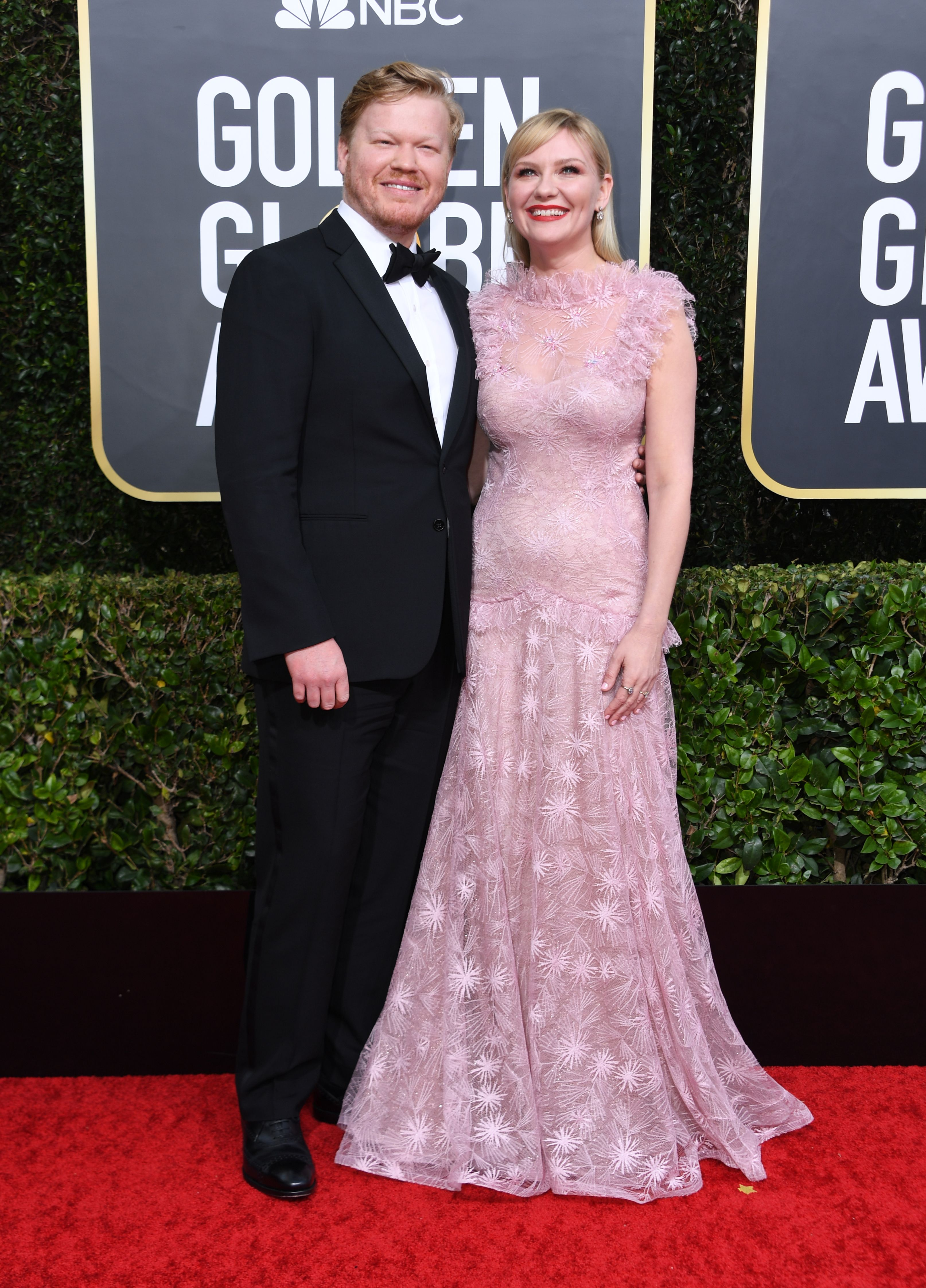 US actres Kirsten Dunst and her partner actor Jesse Plemons arrive for the 77th annual Golden Globe Awards on January 5, 2020, at The Beverly Hilton hotel in Beverly Hills, California. (Photo by VALERIE MACON / AFP) (Photo by VALERIE MACON/AFP via Getty Images)