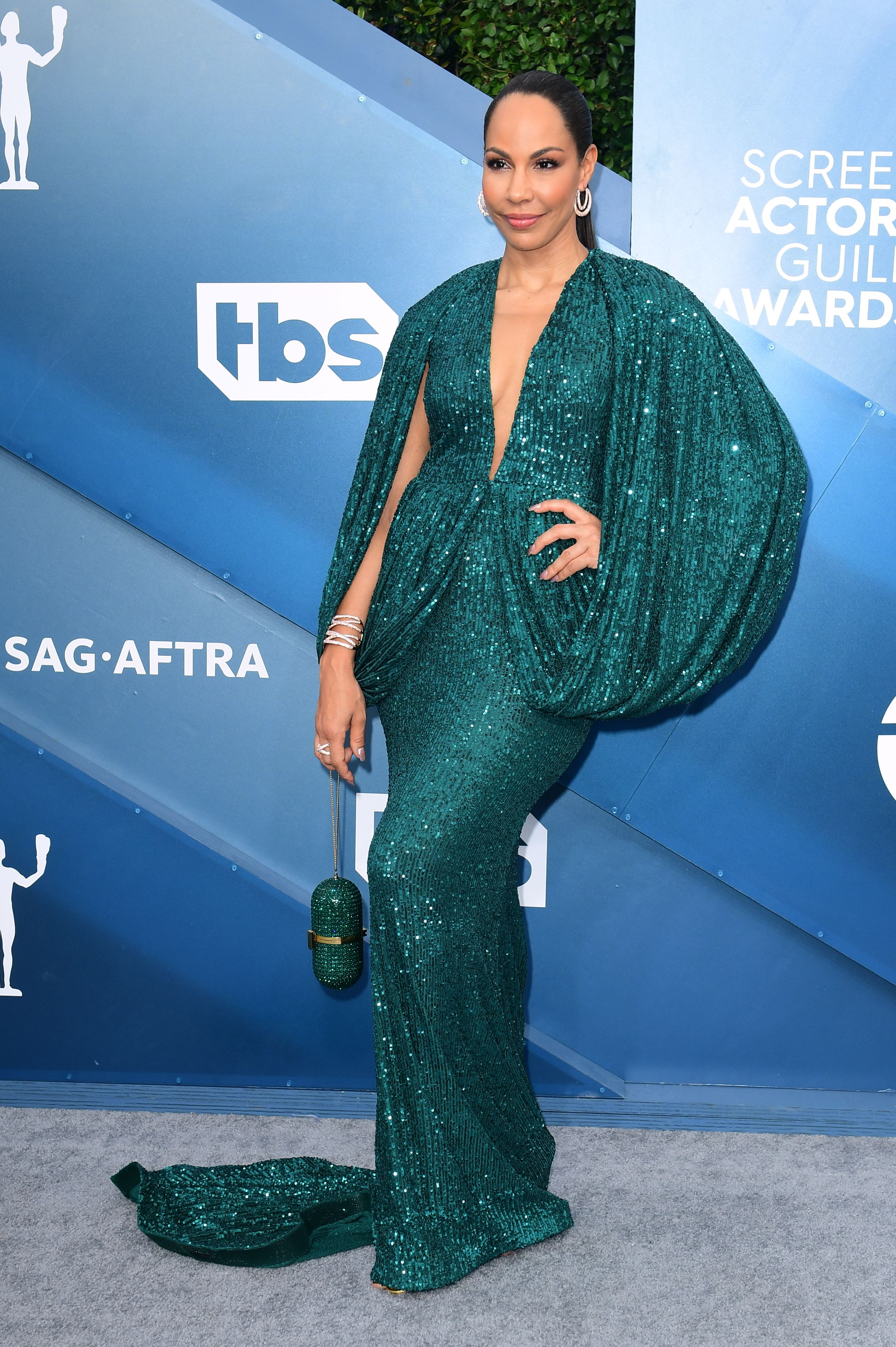 Canadian actress Amanda Brugel arrives for the 26th Annual Screen Actors Guild Awards at the Shrine Auditorium in Los Angeles on January 19, 2020. (Photo by FREDERIC J. BROWN / AFP) (Photo by FREDERIC J. BROWN/AFP via Getty Images)