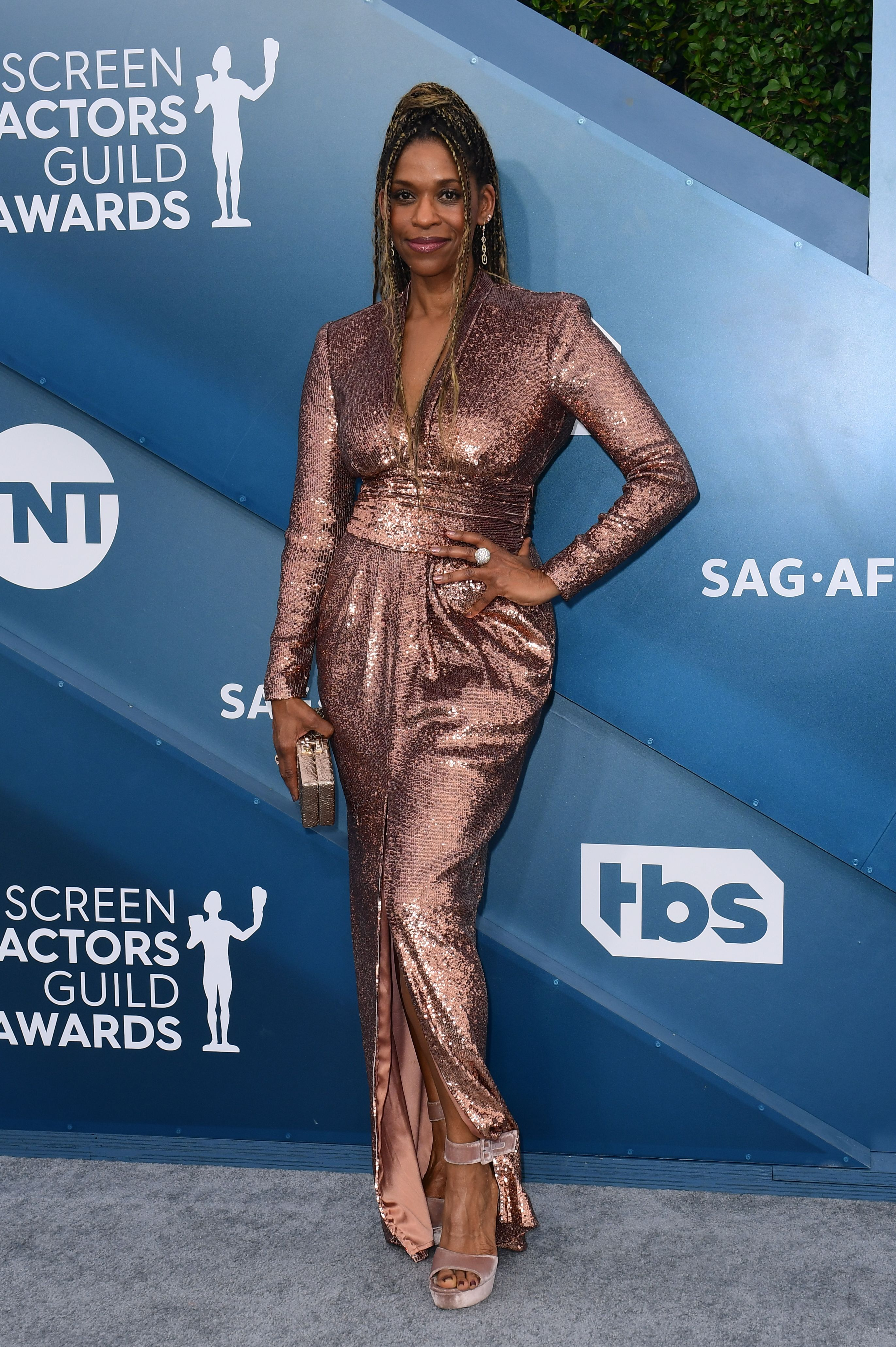 US actress Merrin Dungey arrives for the 26th Annual Screen Actors Guild Awards at the Shrine Auditorium in Los Angeles on January 19, 2020. (Photo by FREDERIC J. BROWN / AFP) (Photo by FREDERIC J. BROWN/AFP via Getty Images)