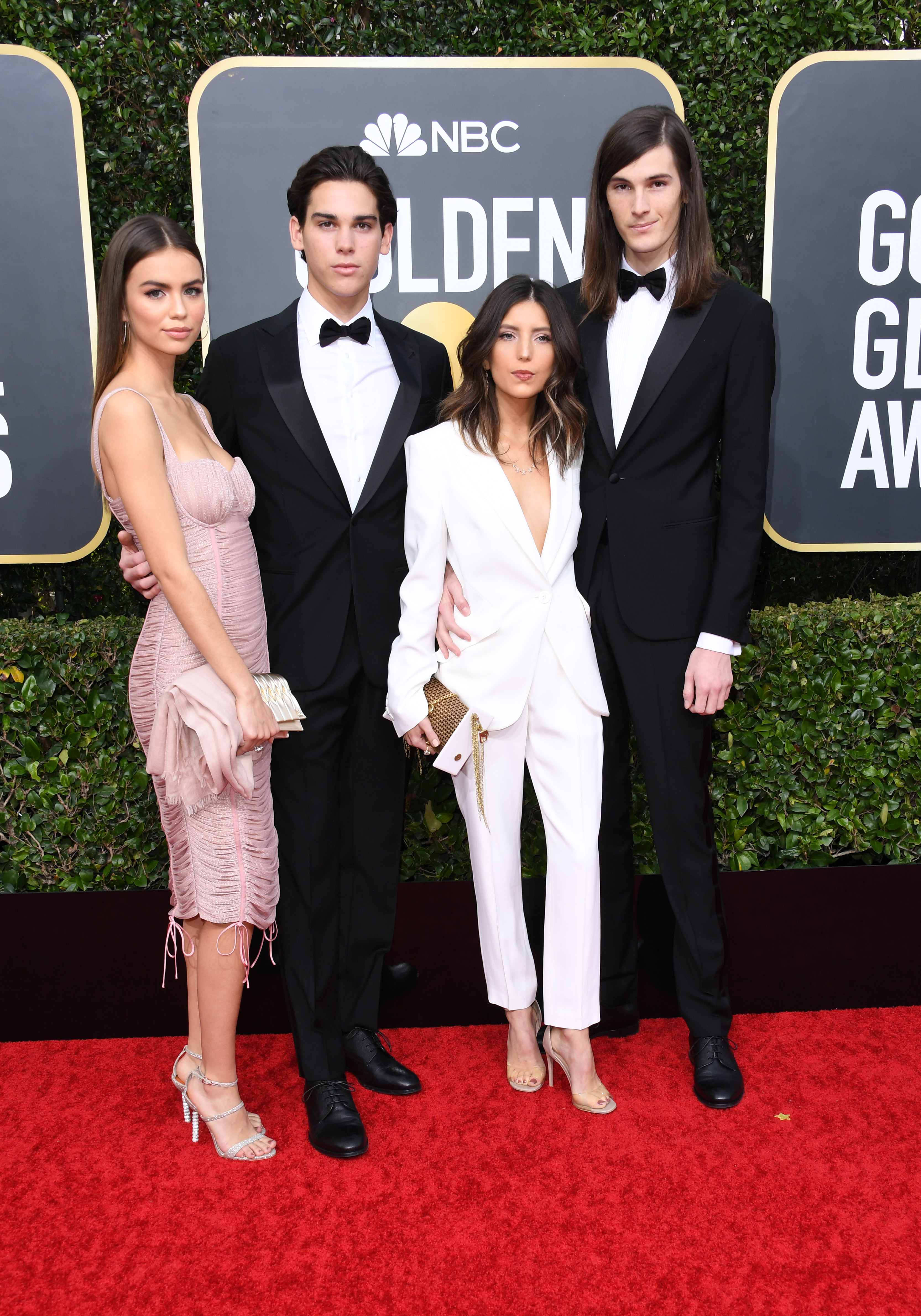 BEVERLY HILLS, CALIFORNIA - JANUARY 05: (L-R) Paris Brosnan (2ndL) and brother Dylan Brosnan and girlfriends attend the 77th Annual Golden Globe Awards at The Beverly Hilton Hotel on January 05, 2020 in Beverly Hills, California. (Photo by Jon Kopaloff/Getty Images)