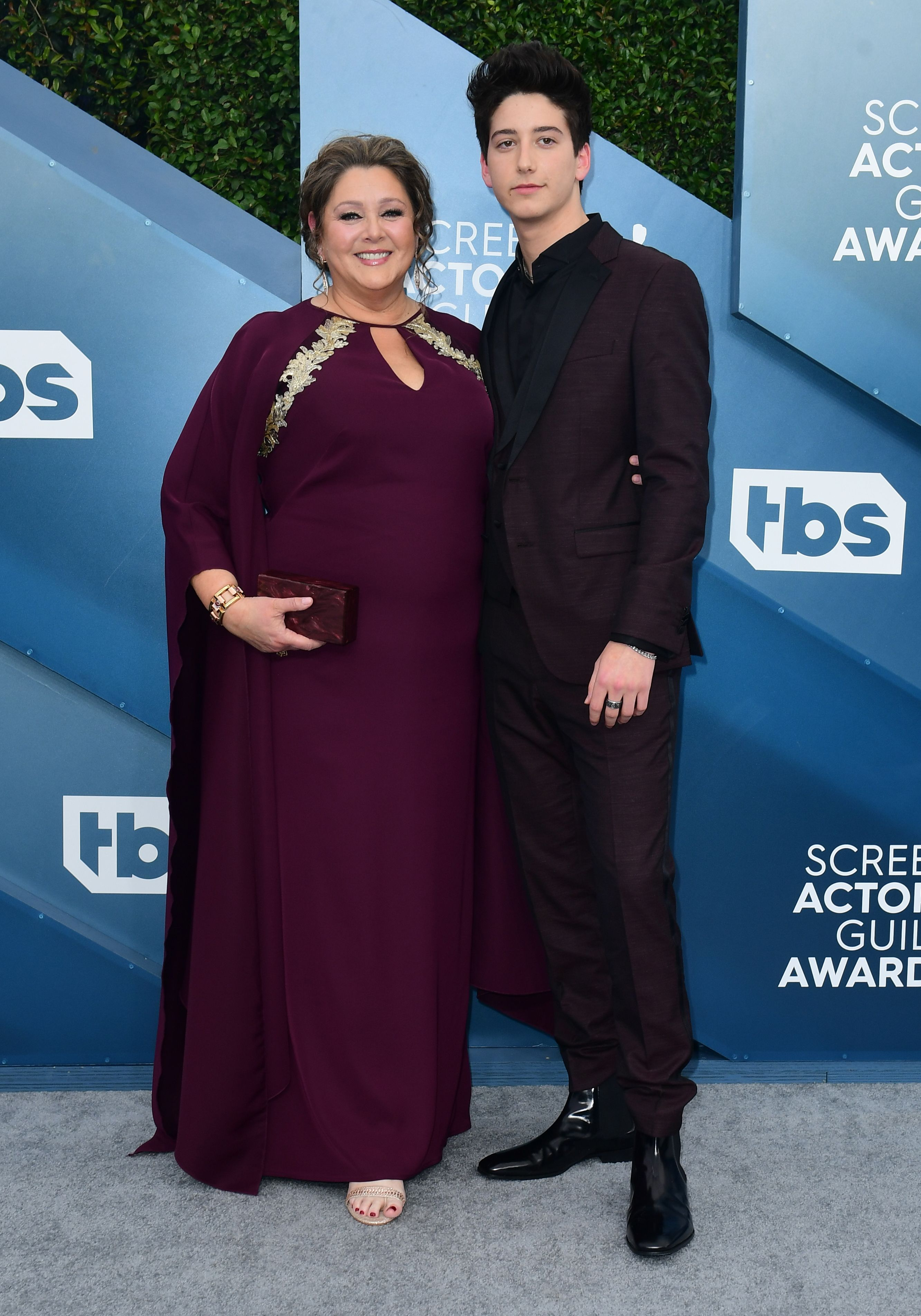 Actress Camryn Manheim and her son Milo arrive for the 26th Annual Screen Actors Guild Awards at the Shrine Auditorium in Los Angeles on January 19, 2020. (Photo by FREDERIC J. BROWN / AFP) (Photo by FREDERIC J. BROWN/AFP via Getty Images)