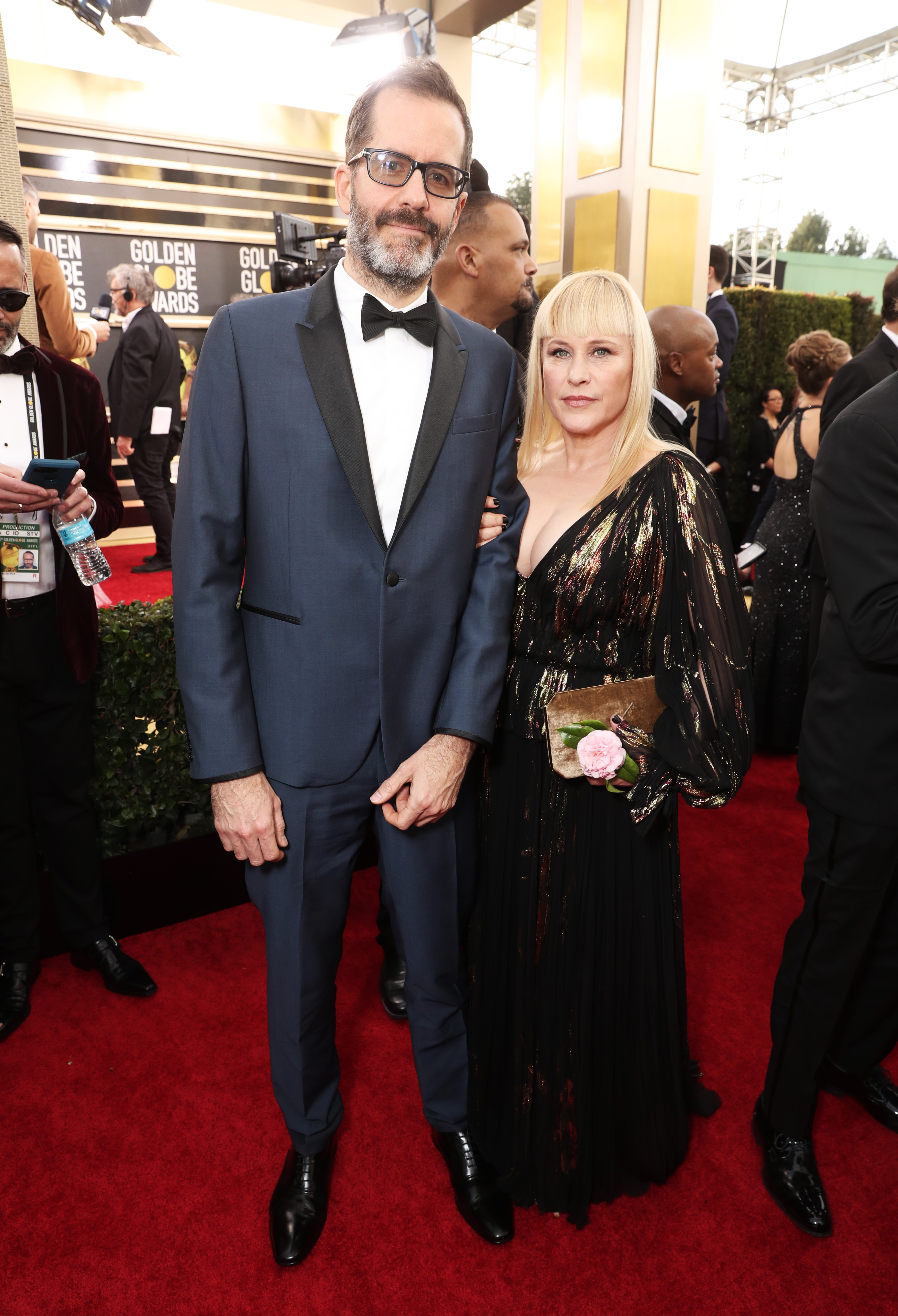 BEVERLY HILLS, CALIFORNIA - JANUARY 05: 77th ANNUAL GOLDEN GLOBE AWARDS -- Pictured: (l-r) Eric White and Patricia Arquette arrive to the 77th Annual Golden Globe Awards held at the Beverly Hilton Hotel on January 5, 2020. -- (Photo by: Todd Williamson/NBC/NBCU Photo Bank via Getty Images)