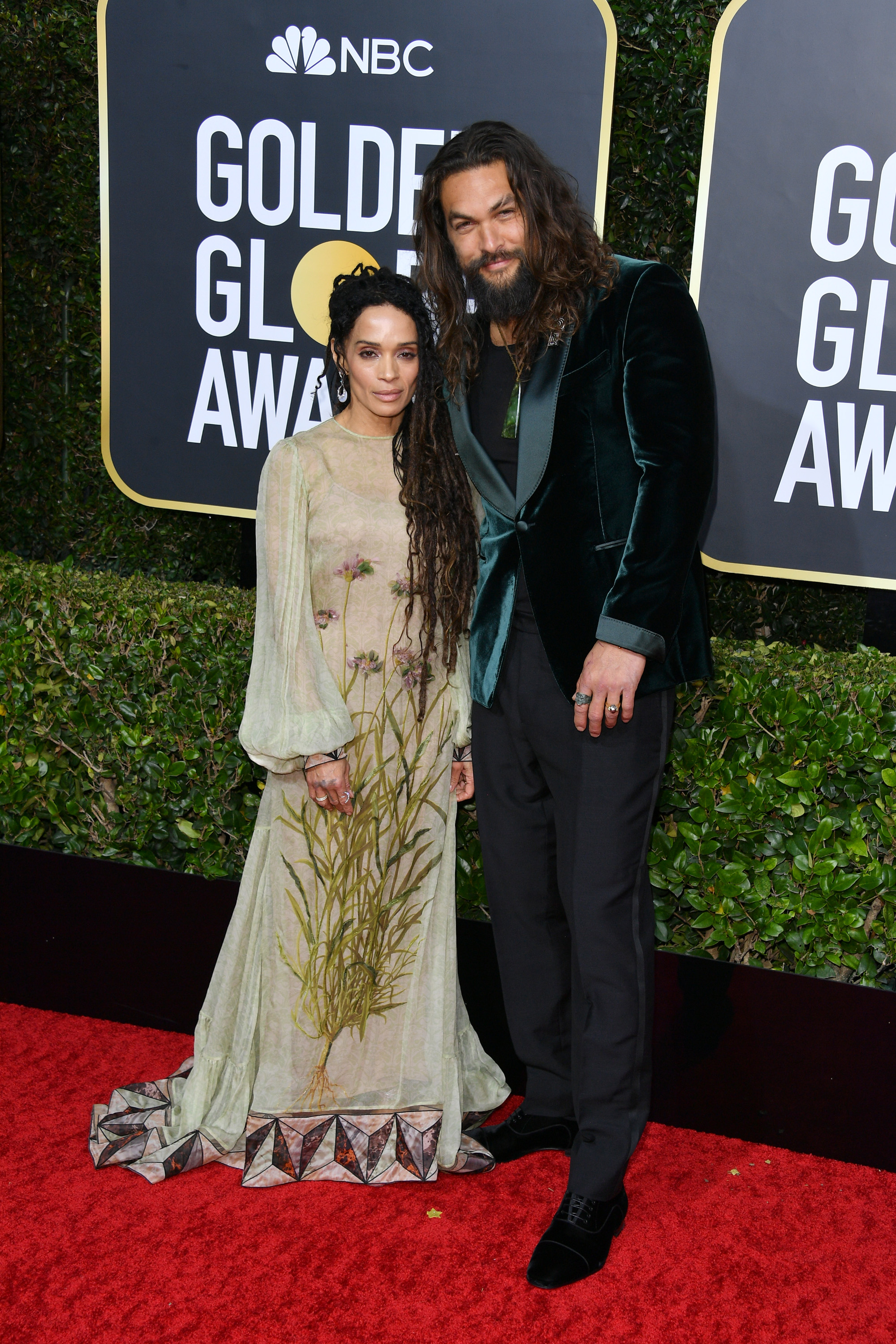 BEVERLY HILLS, CALIFORNIA - JANUARY 05: (L-R) Lisa Bonet and Jason Momoa attend the 77th Annual Golden Globe Awards at The Beverly Hilton Hotel on January 05, 2020 in Beverly Hills, California. (Photo by George Pimentel/WireImage)