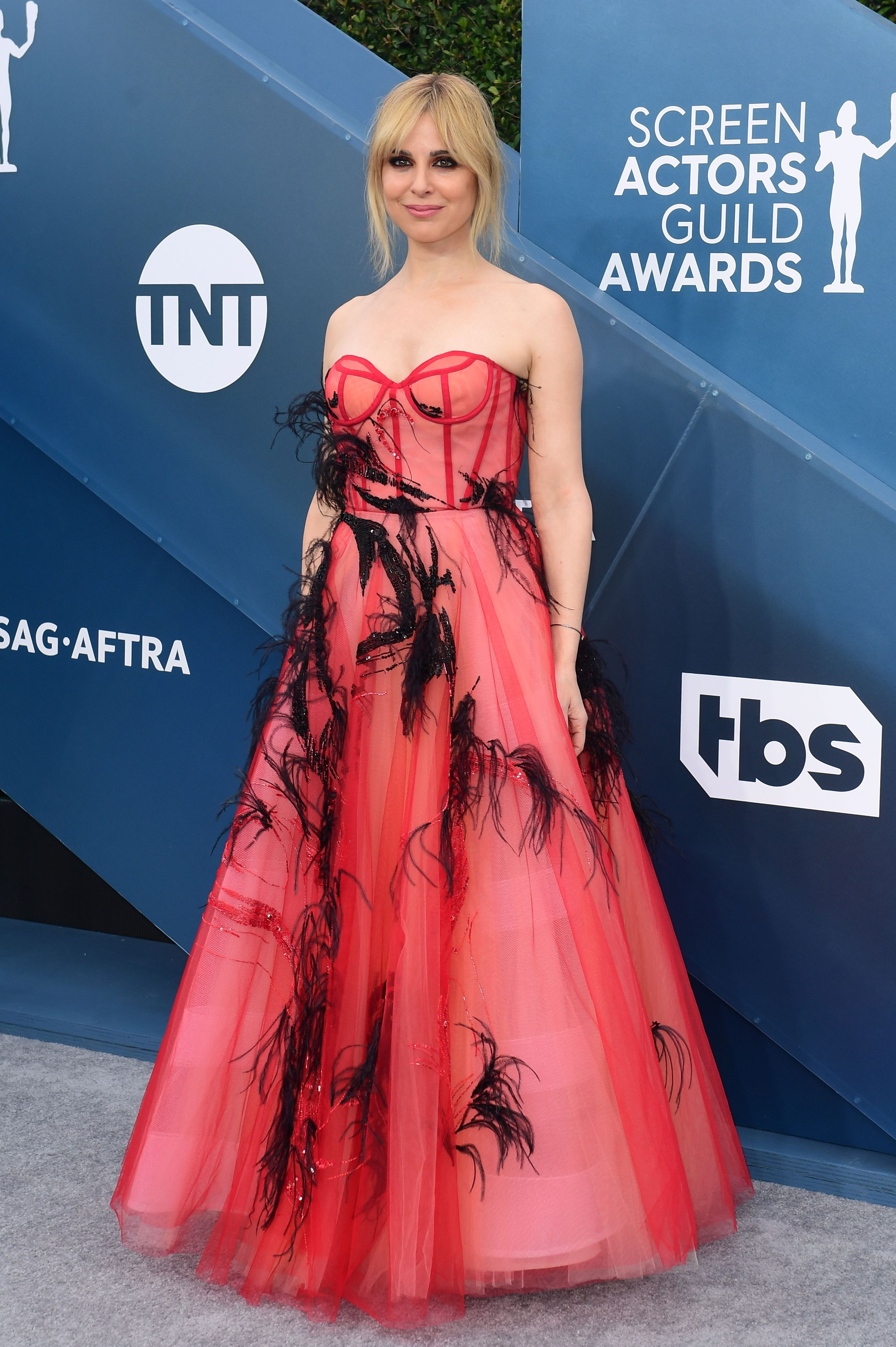 US actress Cara Buono arrives for the 26th Annual Screen Actors Guild Awards at the Shrine Auditorium in Los Angeles on January 19, 2020. (Photo by FREDERIC J. BROWN / AFP) (Photo by FREDERIC J. BROWN/AFP via Getty Images)