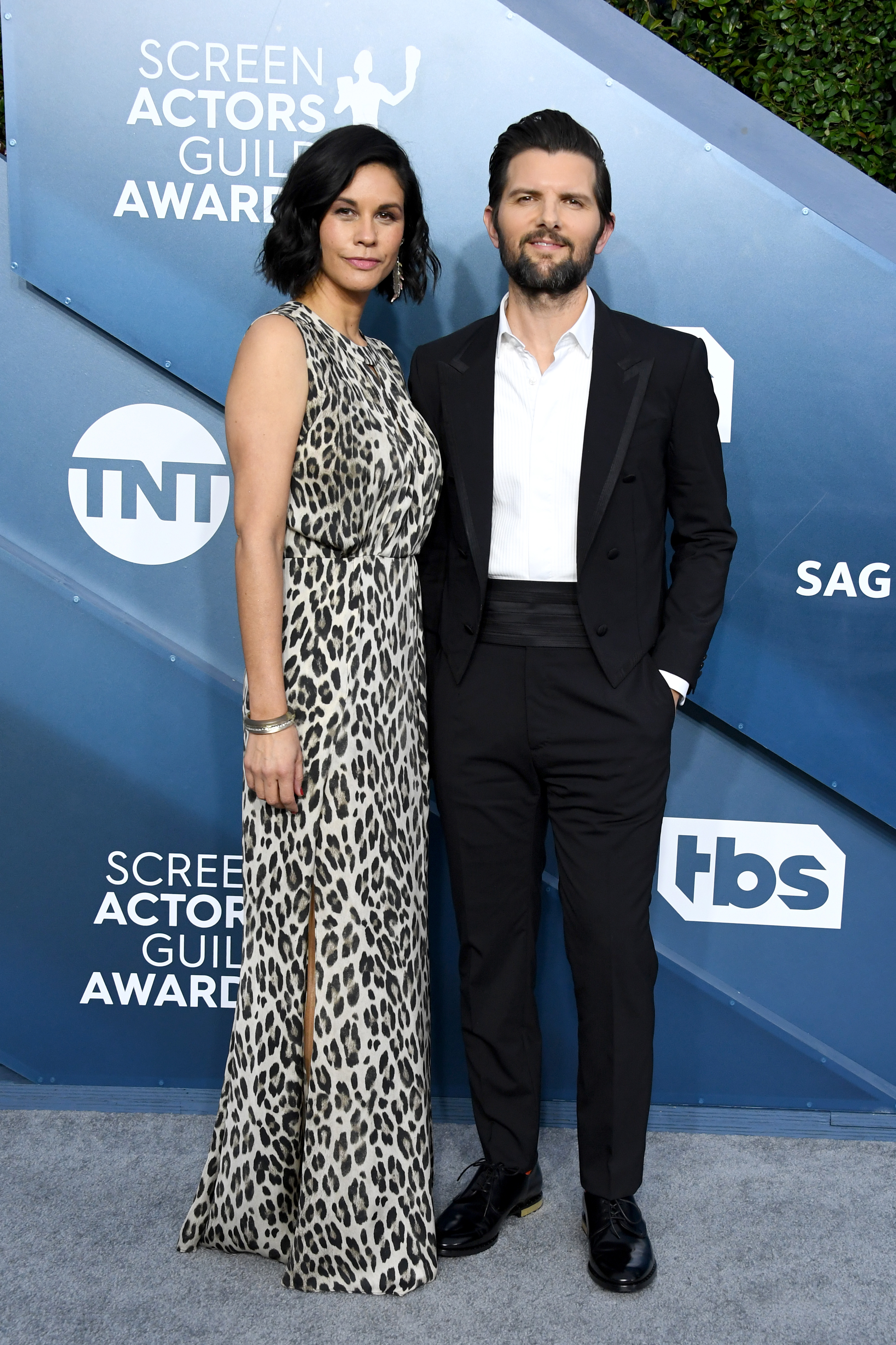 LOS ANGELES, CALIFORNIA - JANUARY 19: (L-R) Naomi Scott and Adam Scott attend the 26th Annual Screen ActorsGuild Awards at The Shrine Auditorium on January 19, 2020 in Los Angeles, California. (Photo by Jon Kopaloff/Getty Images)