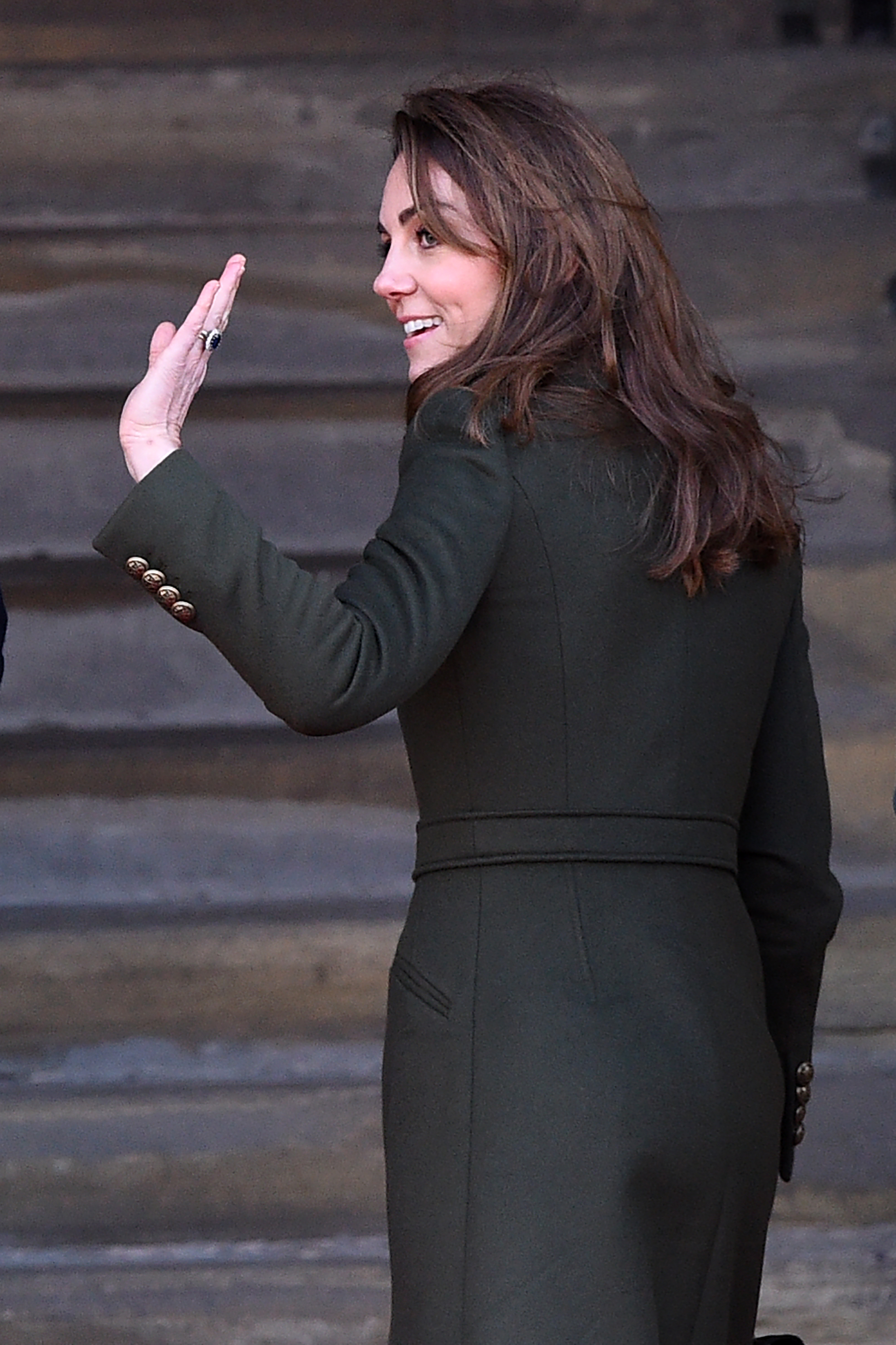 Britain's Catherine, Duchess of Cambridge gestures on arrival for a visit to City Hall in Centenary Square, Bradford on January 15, 2020, to meet young people and hear about their life in Bradford. (Photo by Oli SCARFF / AFP) (Photo by OLI SCARFF/AFP via Getty Images)