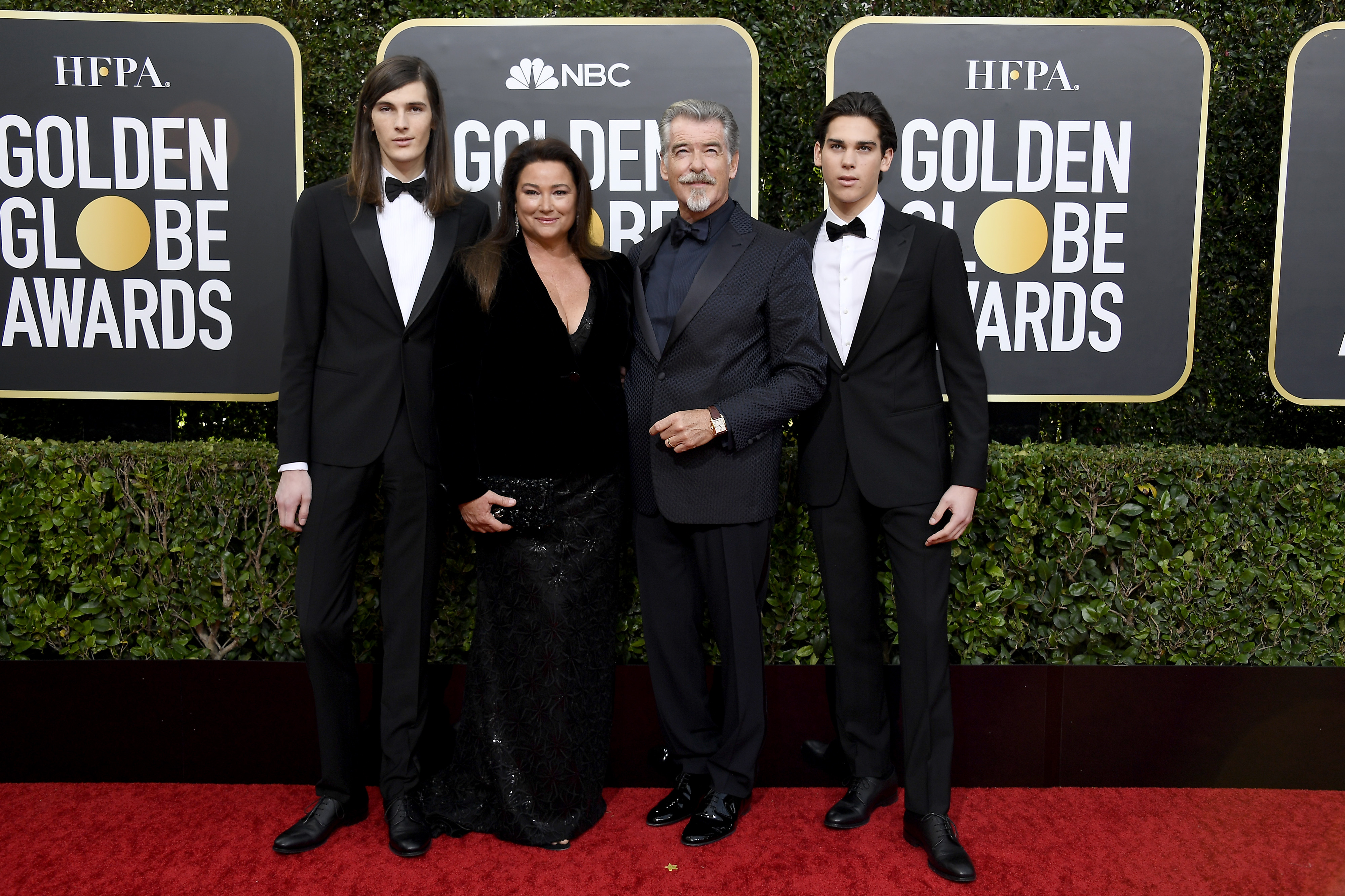 BEVERLY HILLS, CALIFORNIA - JANUARY 05: 77th ANNUAL GOLDEN GLOBE AWARDS -- Pictured: (l-r) Dylan Brosnan, Keely Shaye Smith, Pierce Brosnan, and Paris Brosnan arrive to the 77th Annual Golden Globe Awards held at the Beverly Hilton Hotel on January 5, 2020. -- (Photo by: Kevork Djansezian/NBC/NBCU Photo Bank via Getty Images)