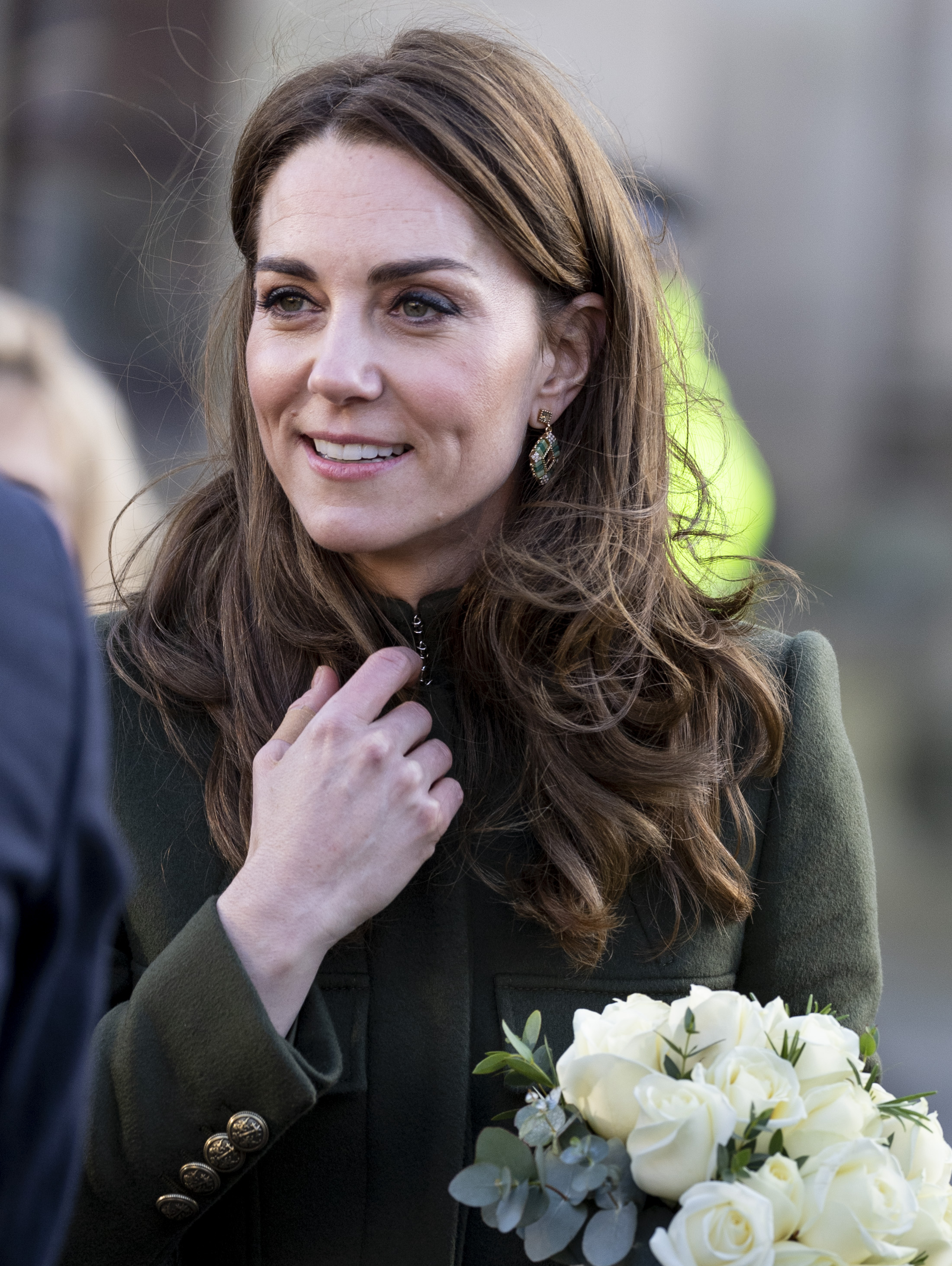 BRADFORD, ENGLAND - JANUARY 15: Catherine, Duchess of Cambridge visits City Hall in Bradfords Centenary Square where she met members of the public on a walkabout on January 15, 2020 in Bradford, United Kingdom. (Photo by Mark Cuthbert/UK Press via Getty Images)