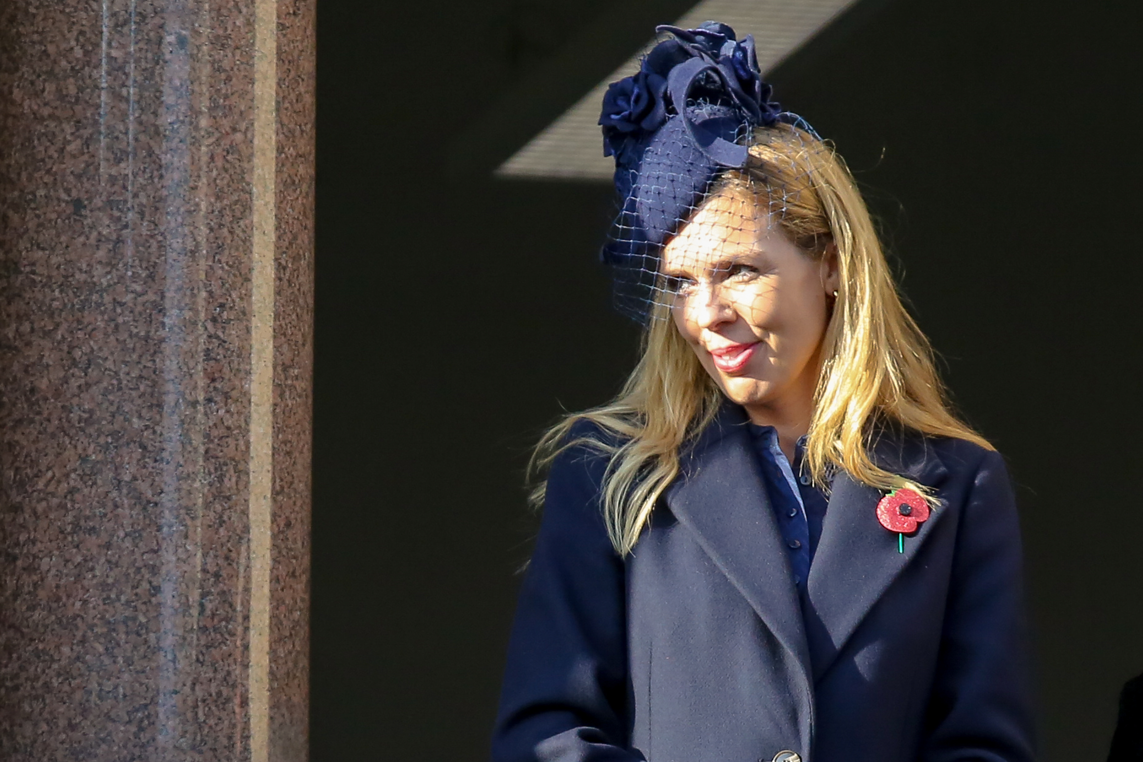 British Prime Minister Boris Johnson's partner Carrie Symonds attends the annual Remembrance Sunday memorial at The Cenotaph, in Whitehall, London. (Photo by Steve Taylor / SOPA Images/Sipa USA)