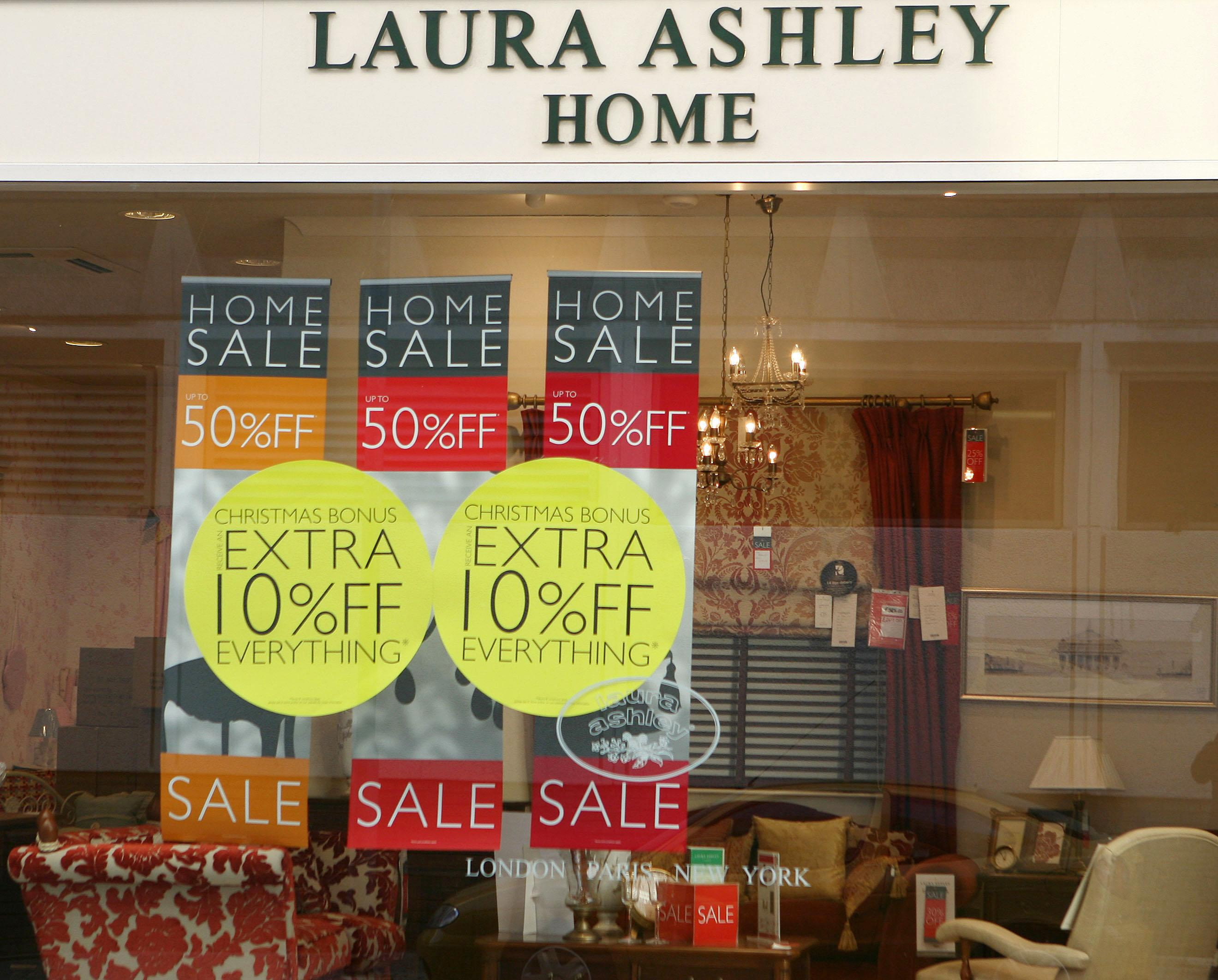 A general view of a Laura Ashley store in South West London as the home furnishings and fashion retailer today said UK like-for-like sales were down almost 10\% in the tough trading climate.