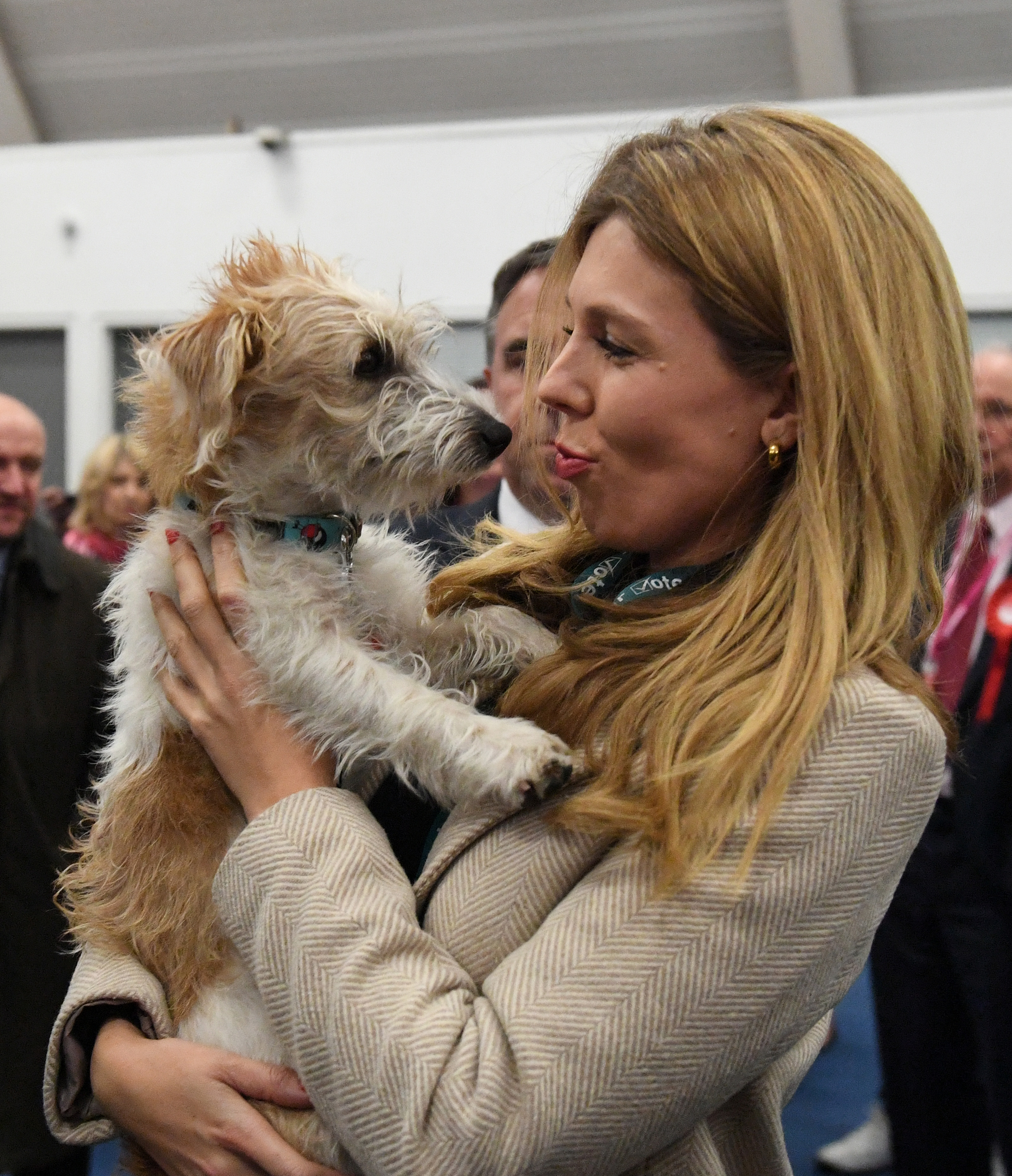 Prime Minister Boris Johnson's partner Carrie Symonds and dog Dilyn arriving for the count for the Uxbridge & Ruislip South constituency in the 2019 General Election.