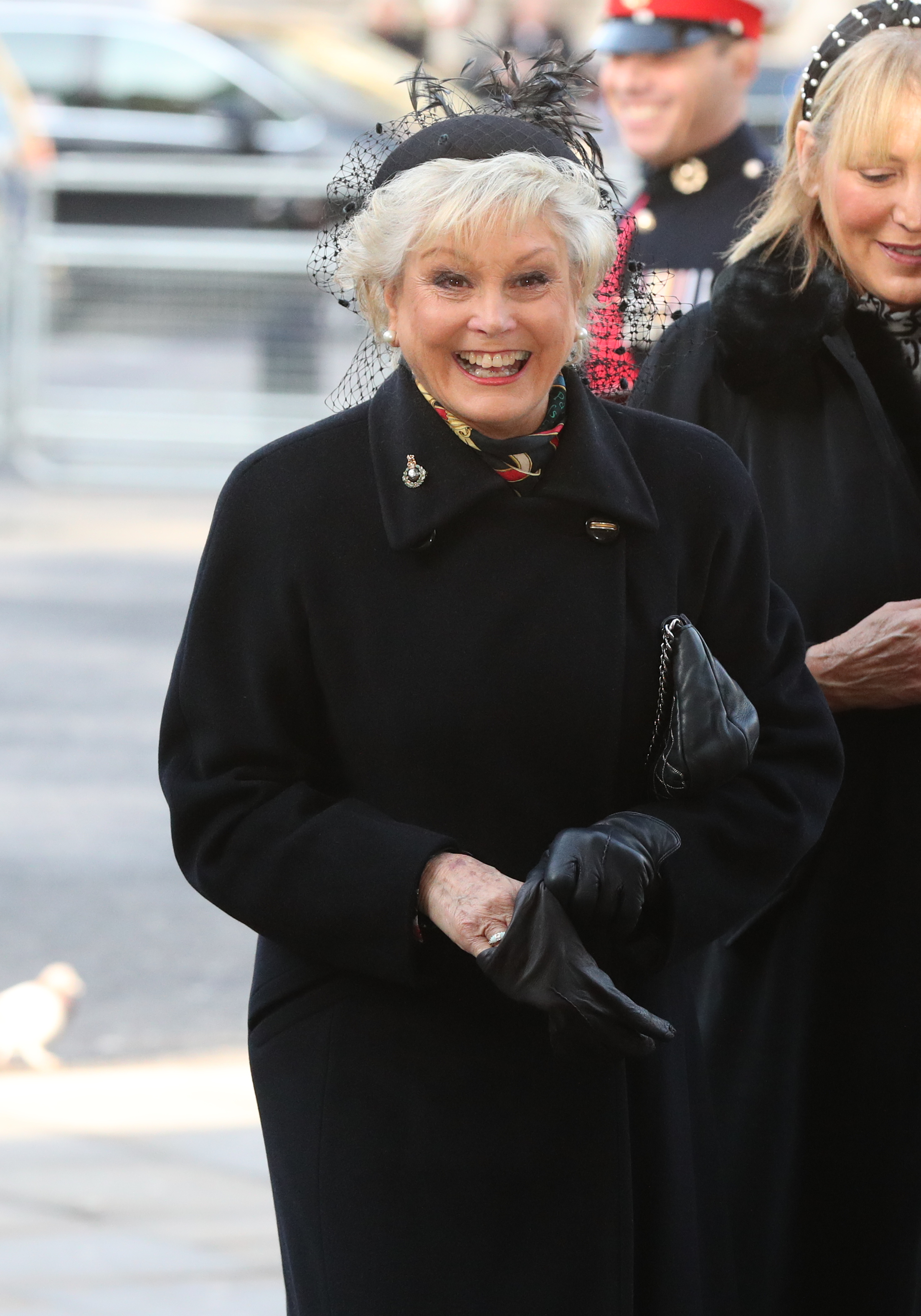 Angela Rippon arrives for a service of thanksgiving for the life and work of Sir Donald Gosling at Westminster Abbey in London.