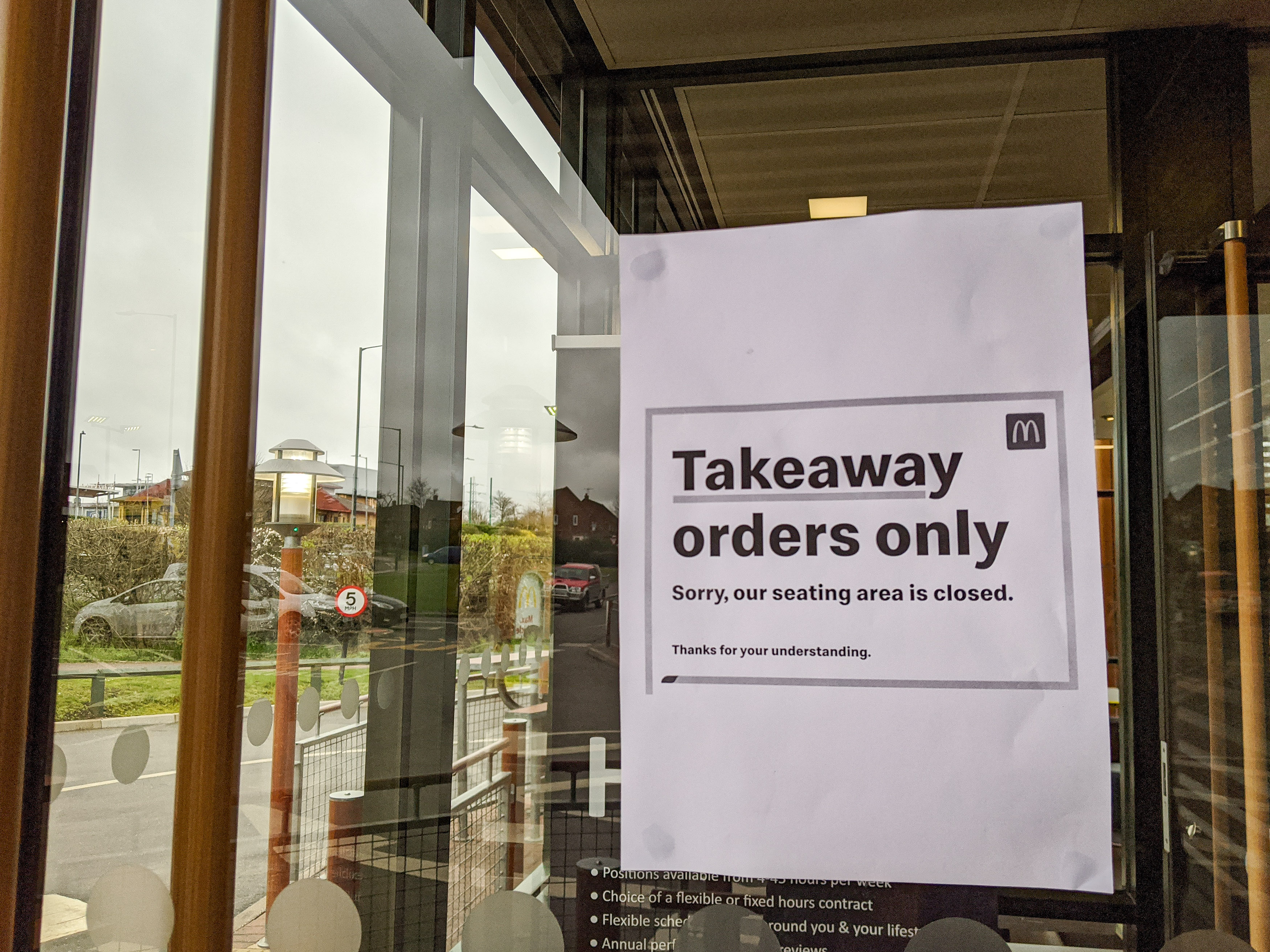 A sign at a Mcdonald's branch in Leamington Spa, Warwickshire. All McDonalds restaurants in the UK and Ireland become takeaways, drive-thrus and delivery operations as the company attempts to cope with the coronavirus outbreak.